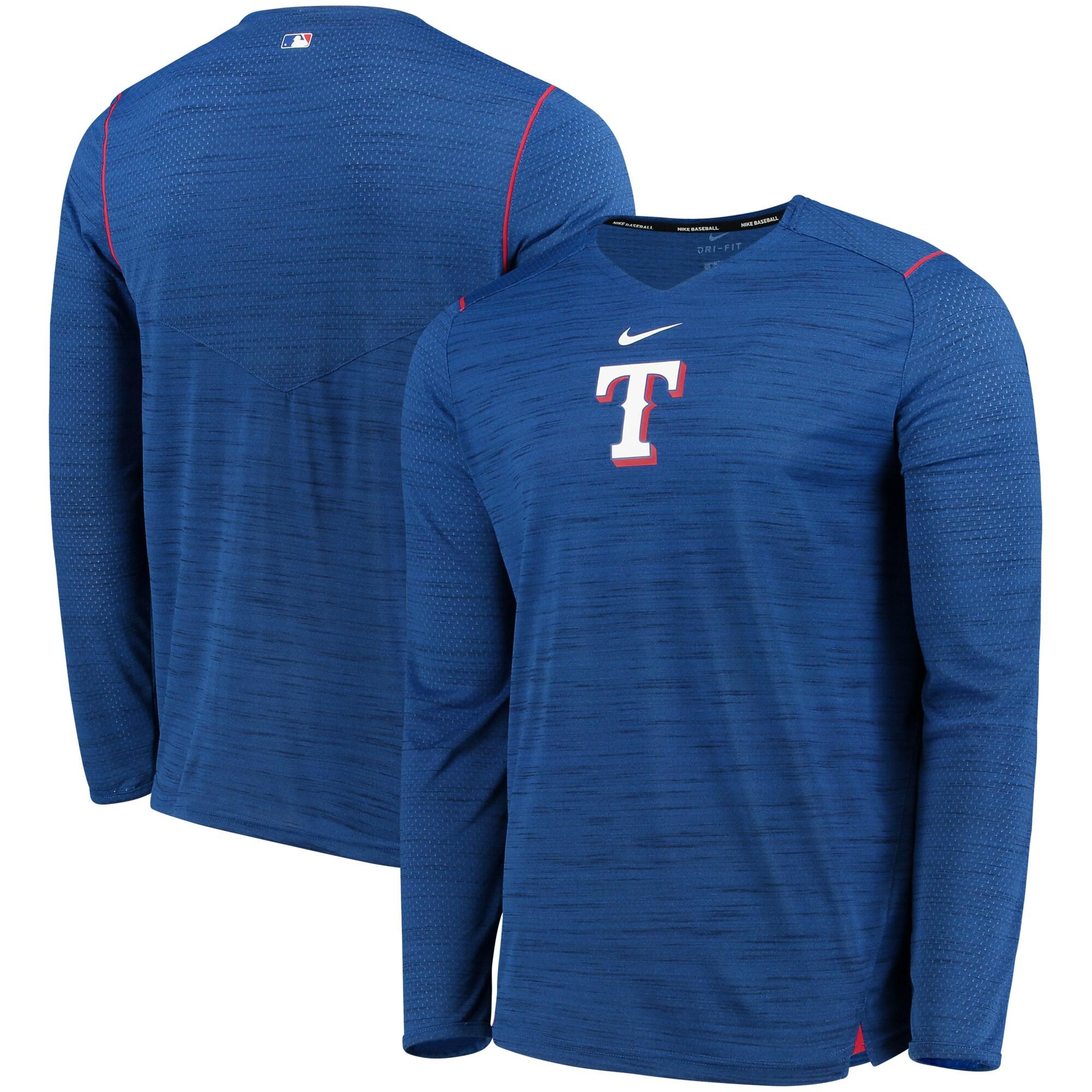 Texas Rangers Nike AC Breathe Long Sleeve Performance T-Shirt - Royal