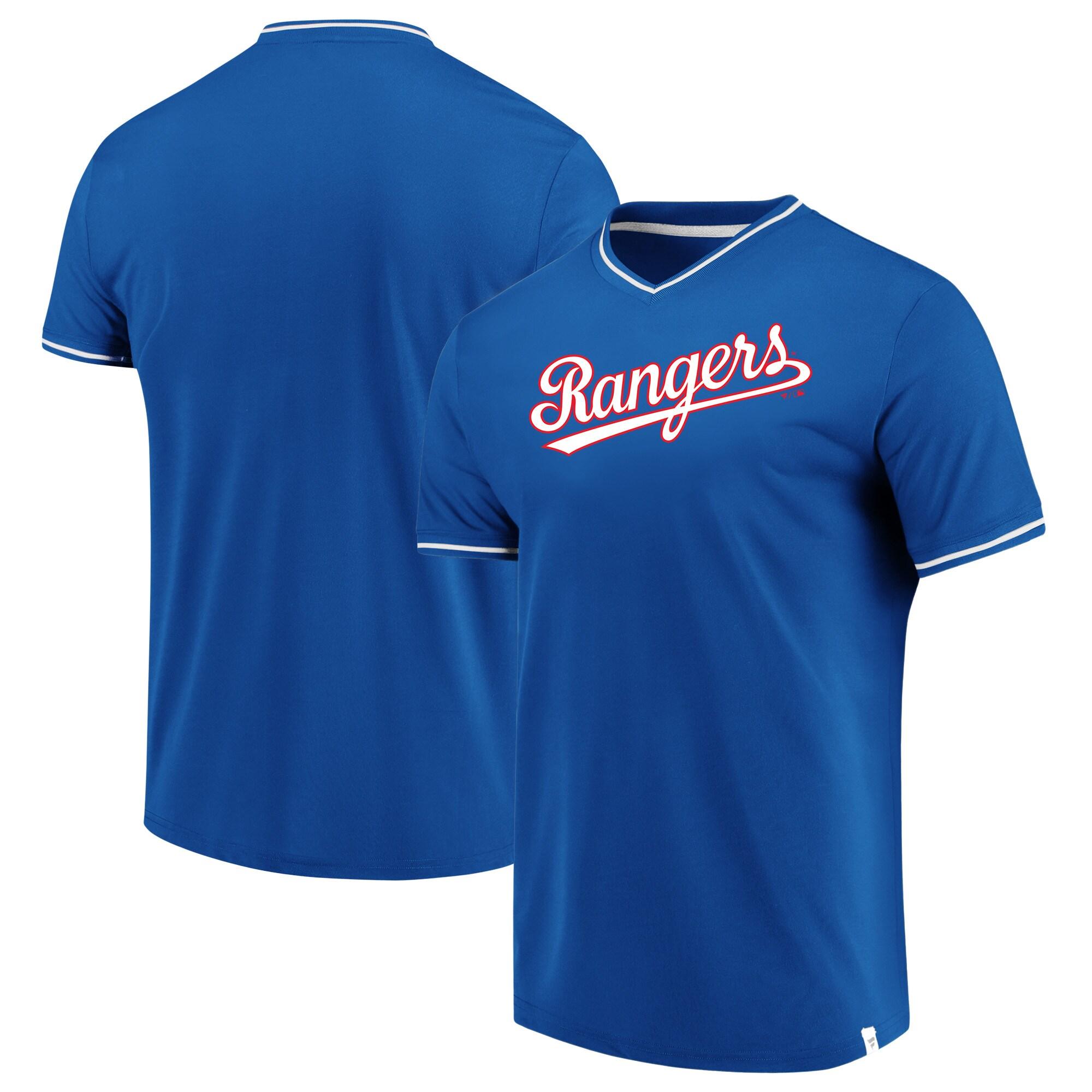 Texas Rangers Fanatics Branded True Classics V-Neck T-Shirt - Royal/White