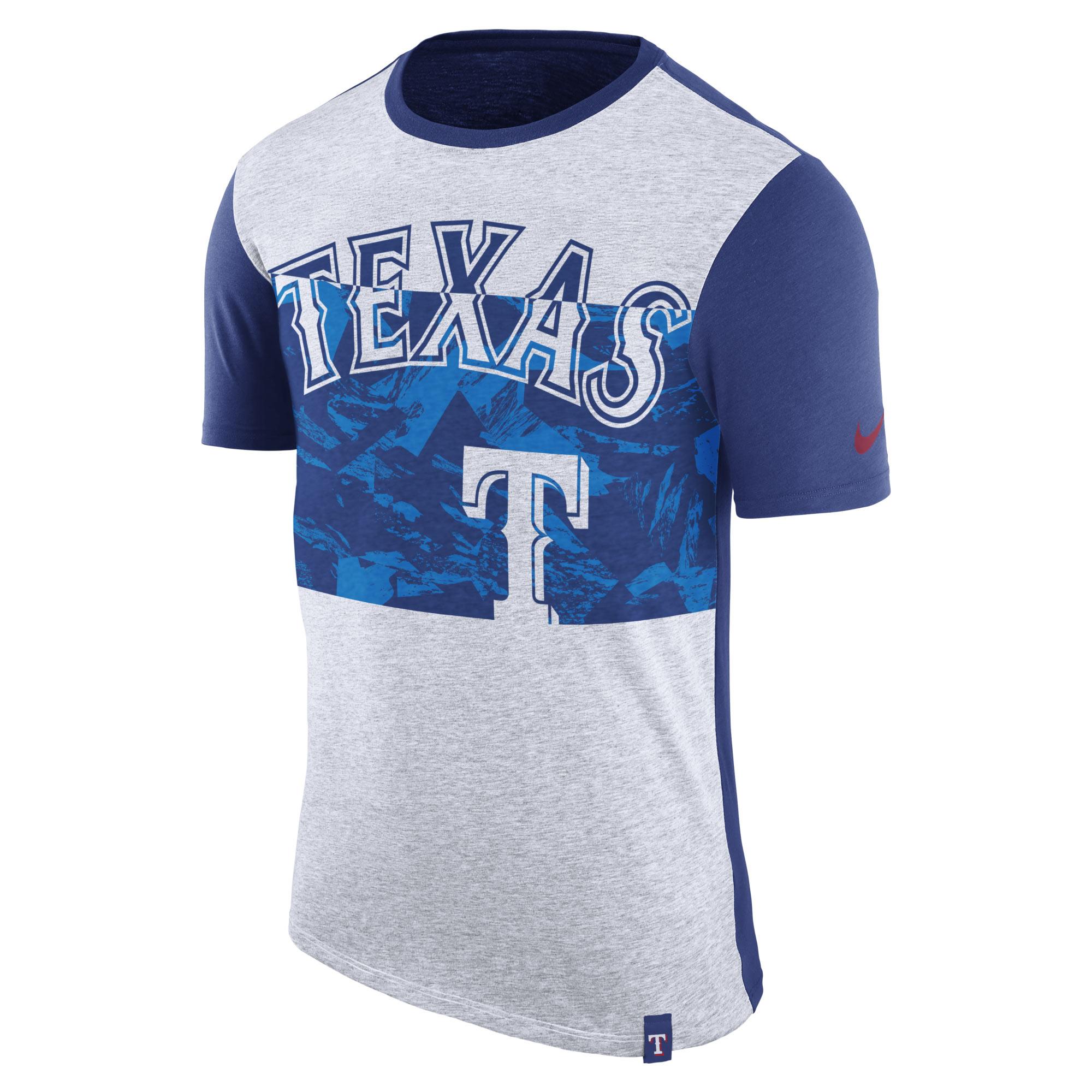 Texas Rangers Nike Sliced Performance Tri-Blend T-Shirt - Heathered Gray