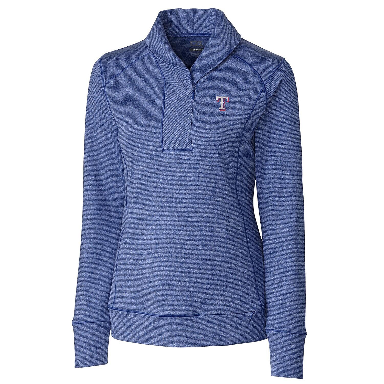 Texas Rangers Cutter & Buck Female Women's Shoreline Half-Zip Sweatshirt - Heathered Royal