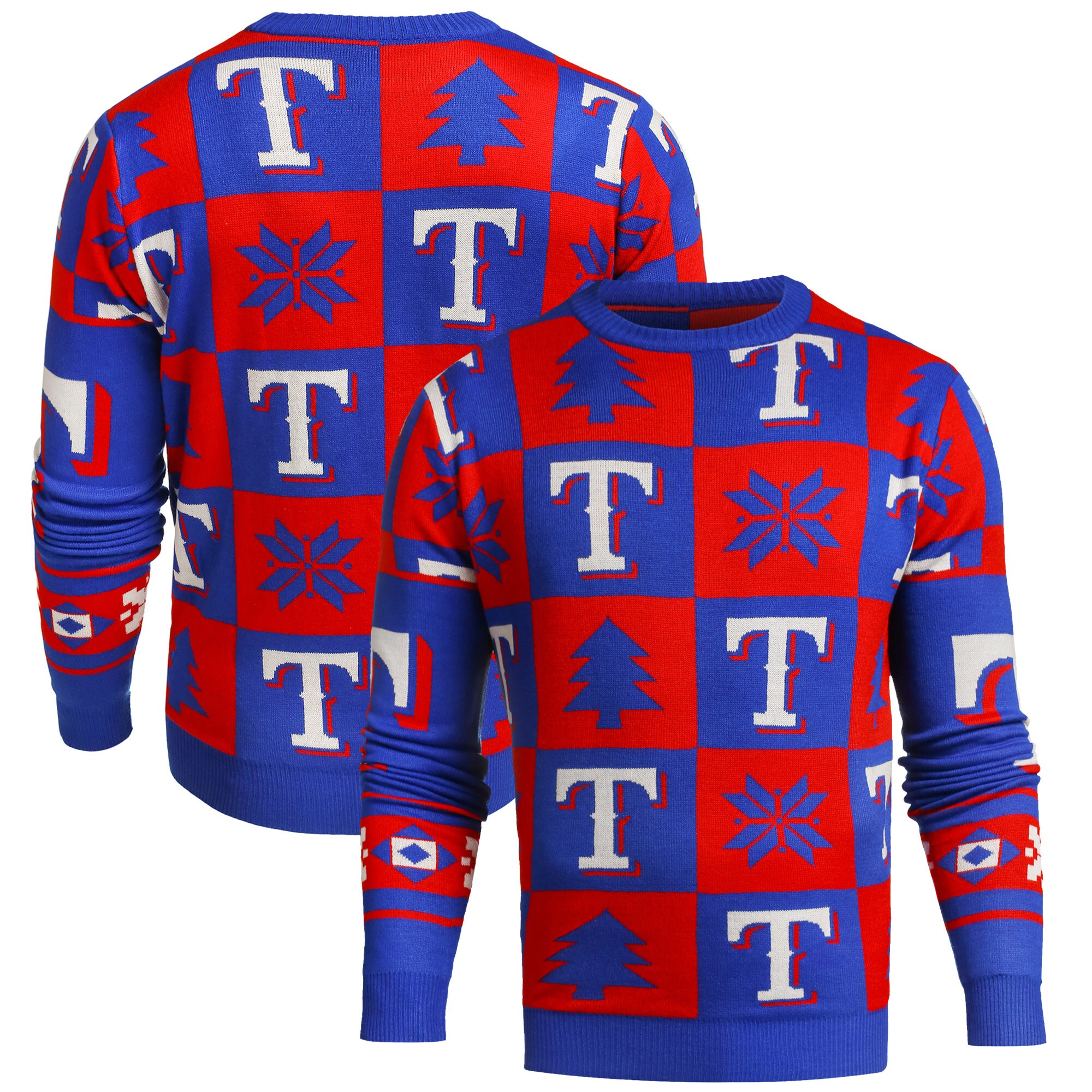 Texas Rangers Patches Ugly Pullover Sweater - Royal
