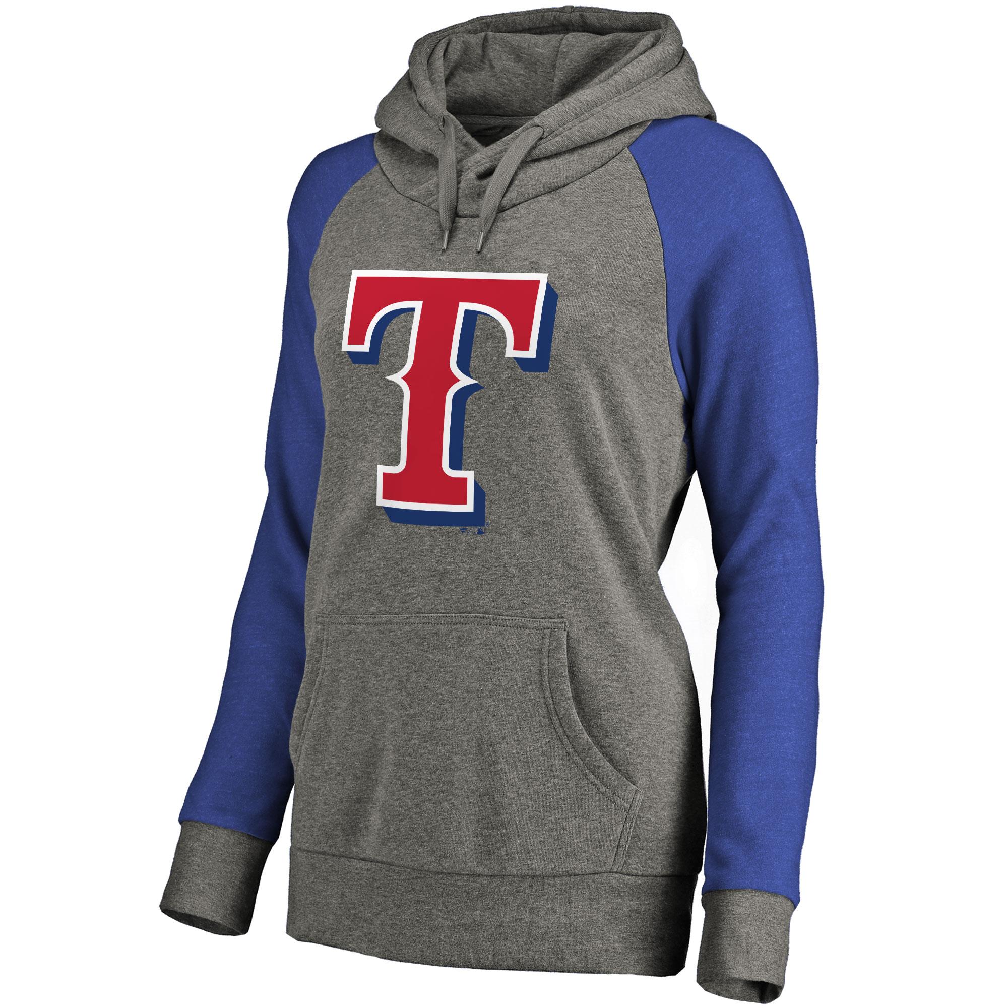 Texas Rangers Women's Primary Logo Raglan Sleeve Tri-Blend Pullover Hoodie - Ash