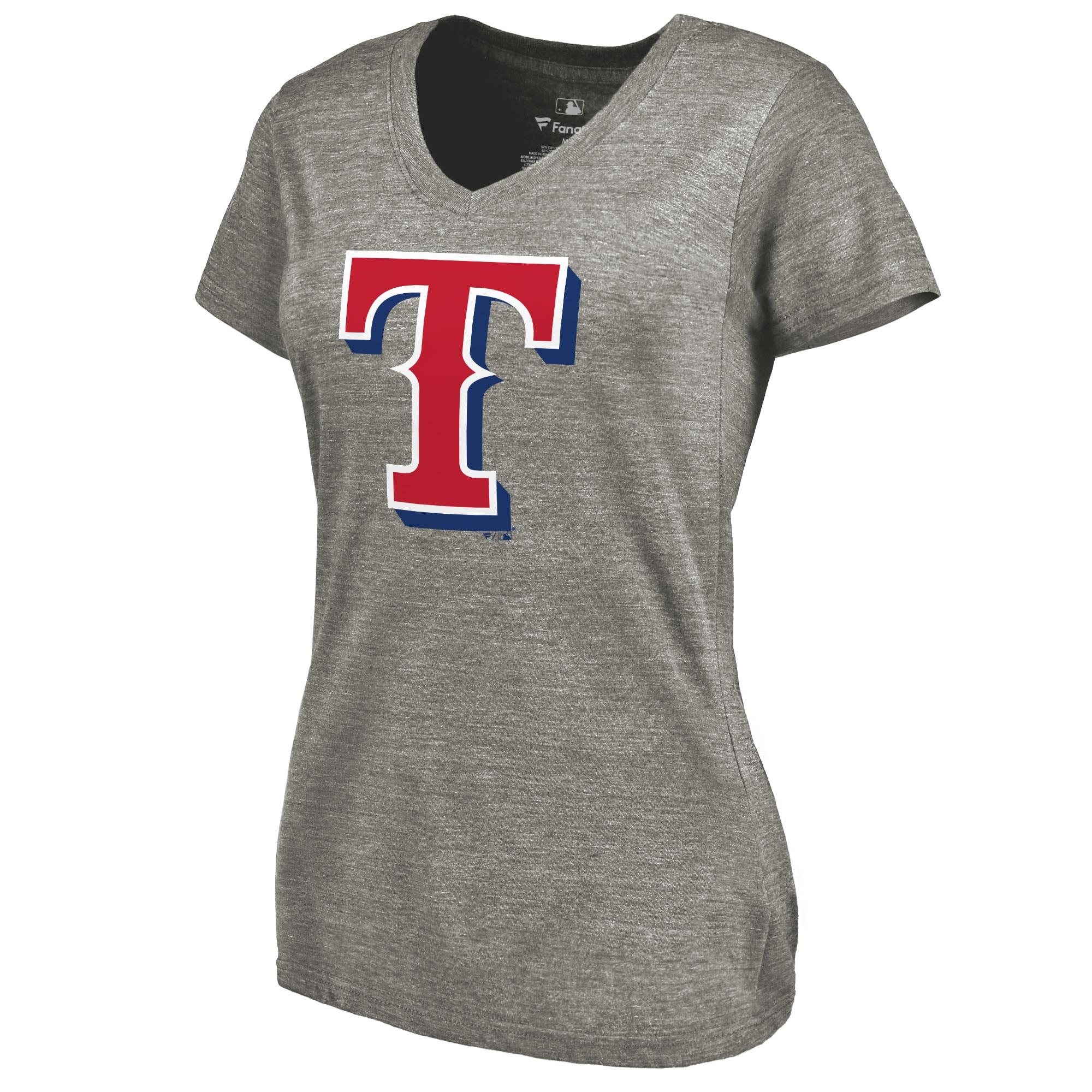 Texas Rangers Women's Primary Logo Tri-Blend V-Neck T-Shirt - Ash