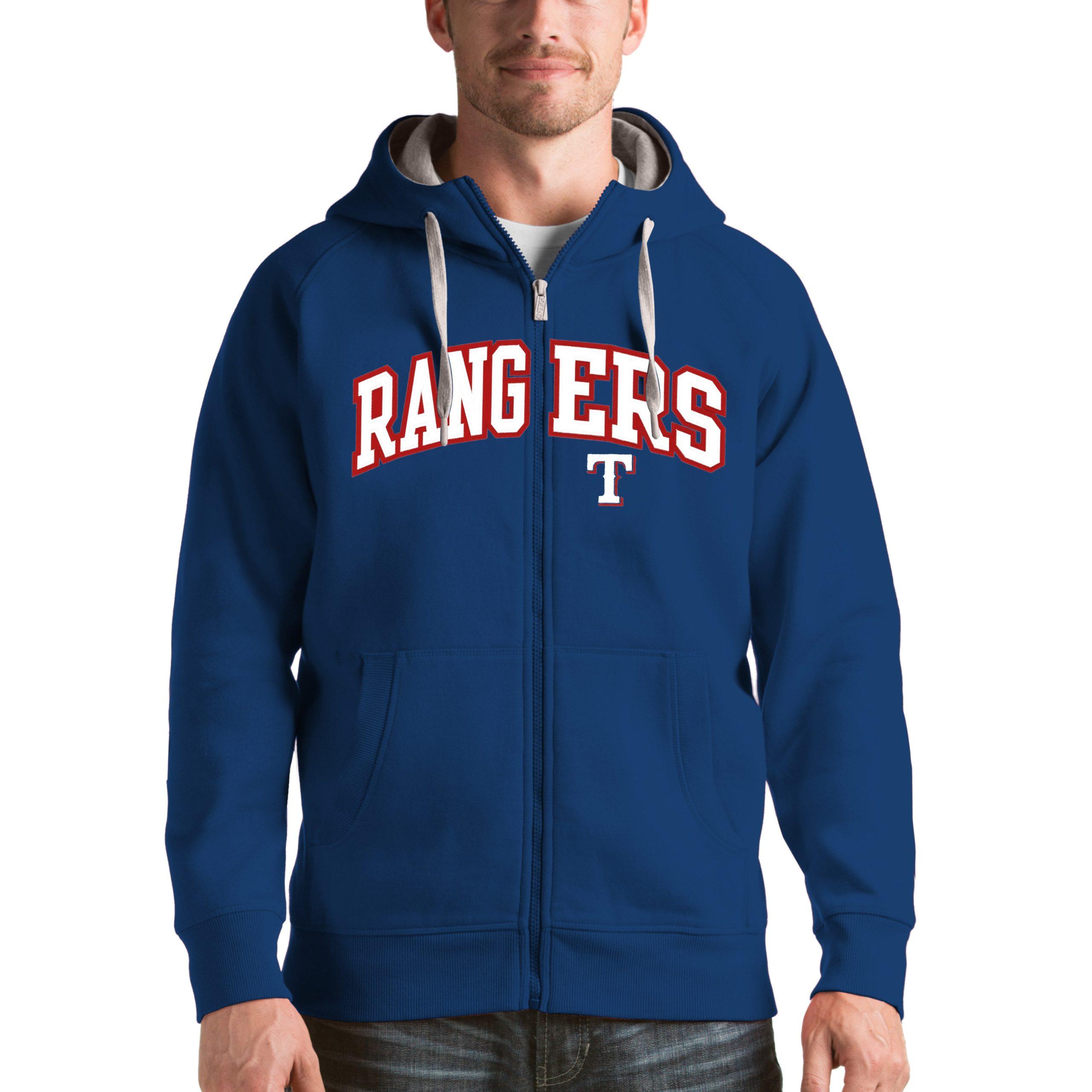 Texas Rangers Antigua Victory Full-Zip Hoodie - Royal