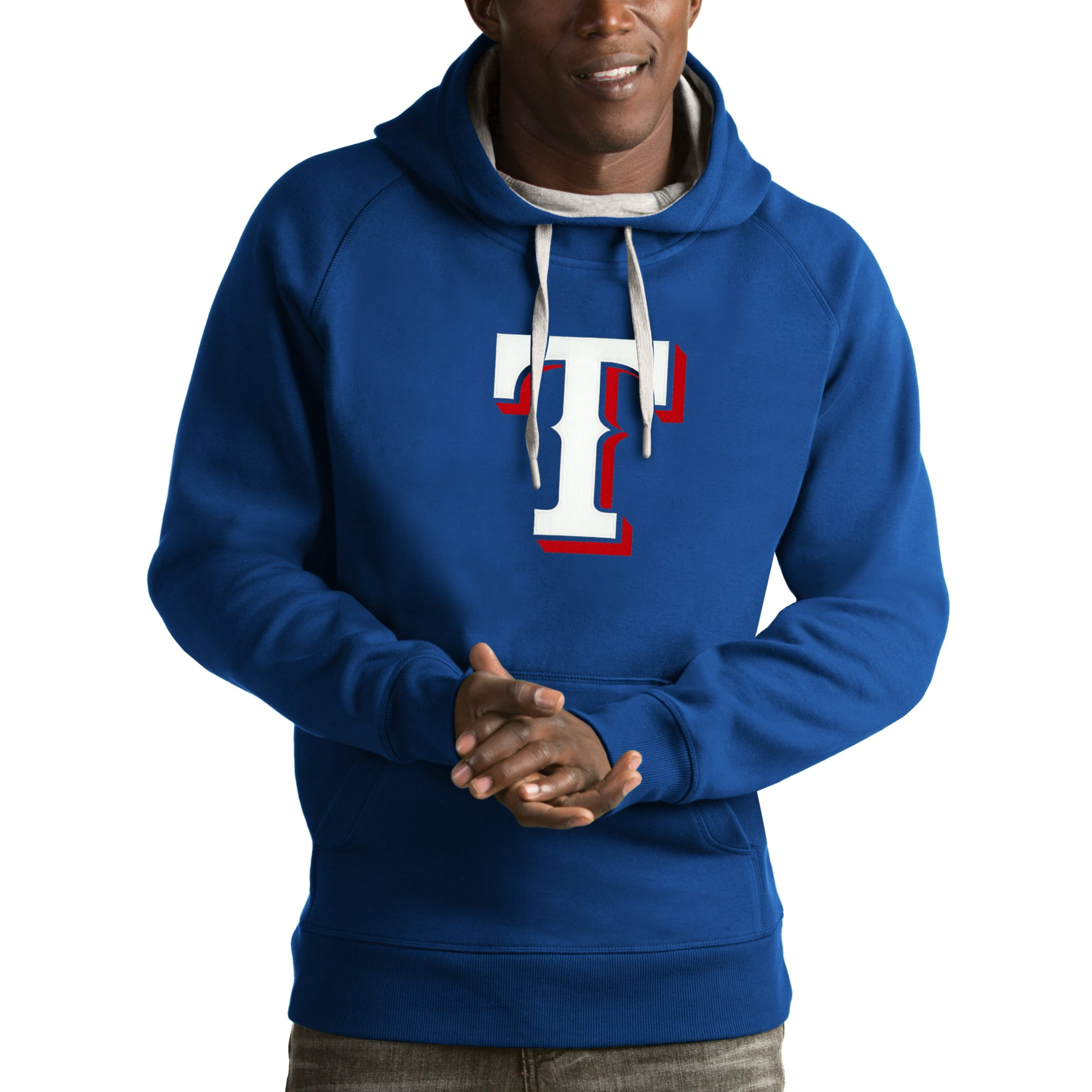 Texas Rangers Antigua Victory Pullover Hoodie - Royal