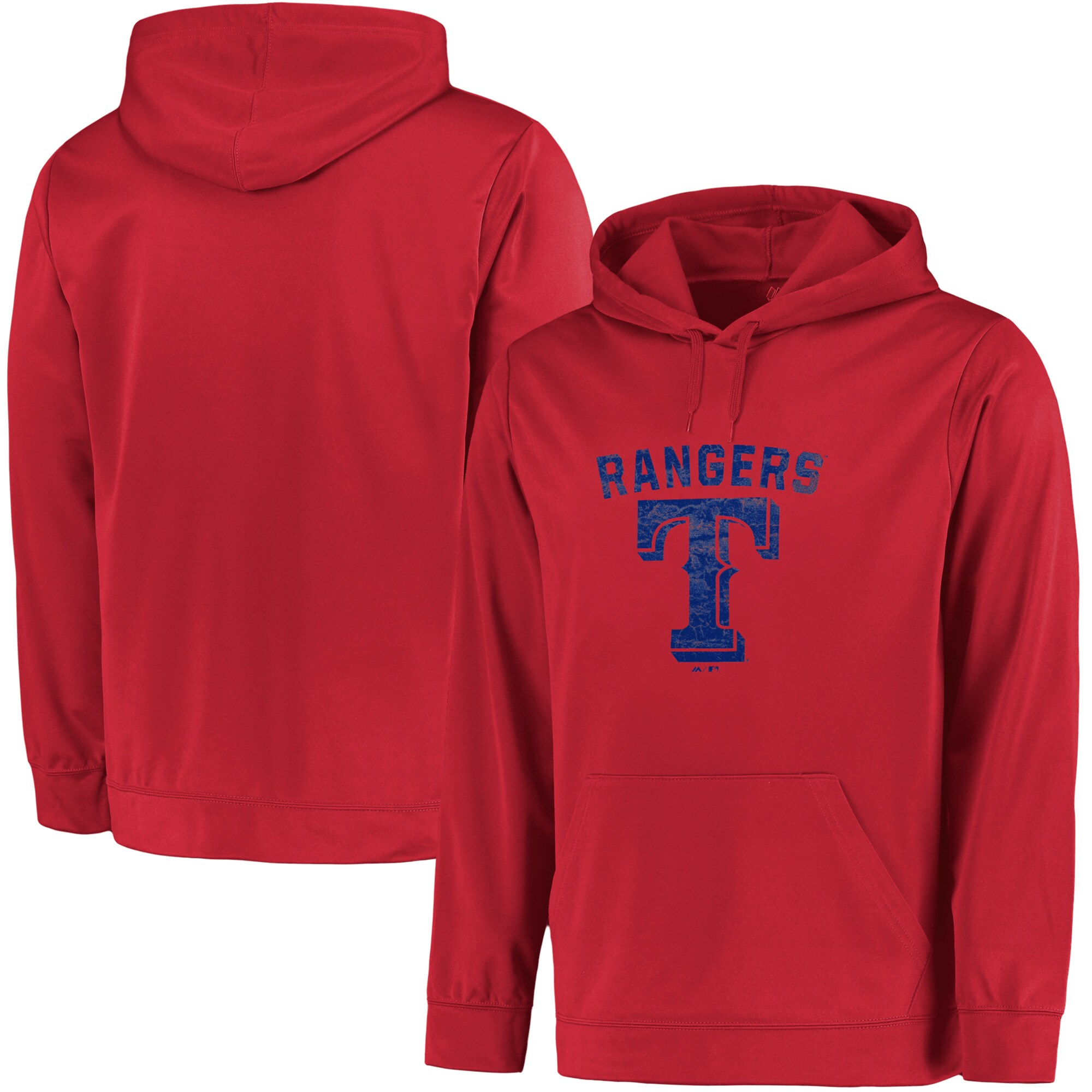 Texas Rangers Majestic Big & Tall Distressed Hoodie - Red