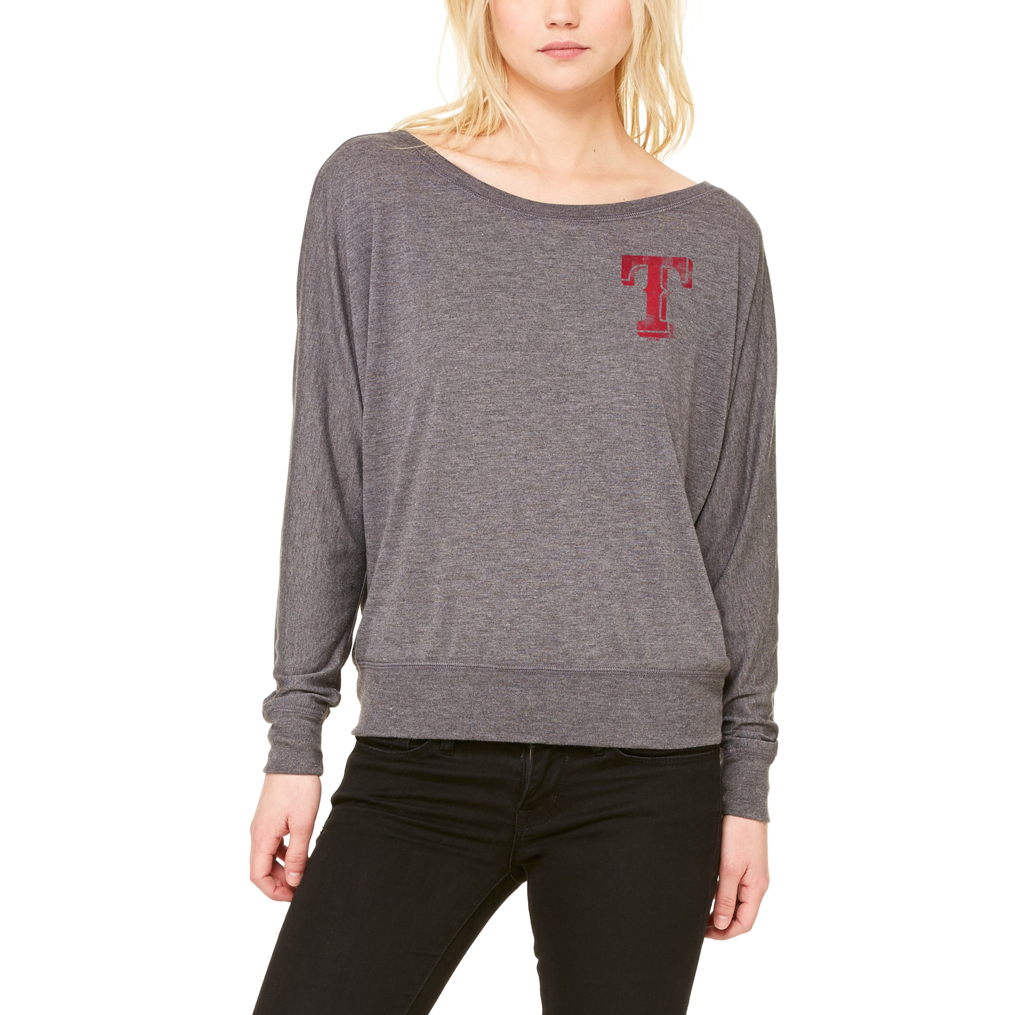 Texas Rangers Let Loose by RNL Women's Winning Off-Shoulder Long Sleeve T-Shirt - Dark Heathered Gray