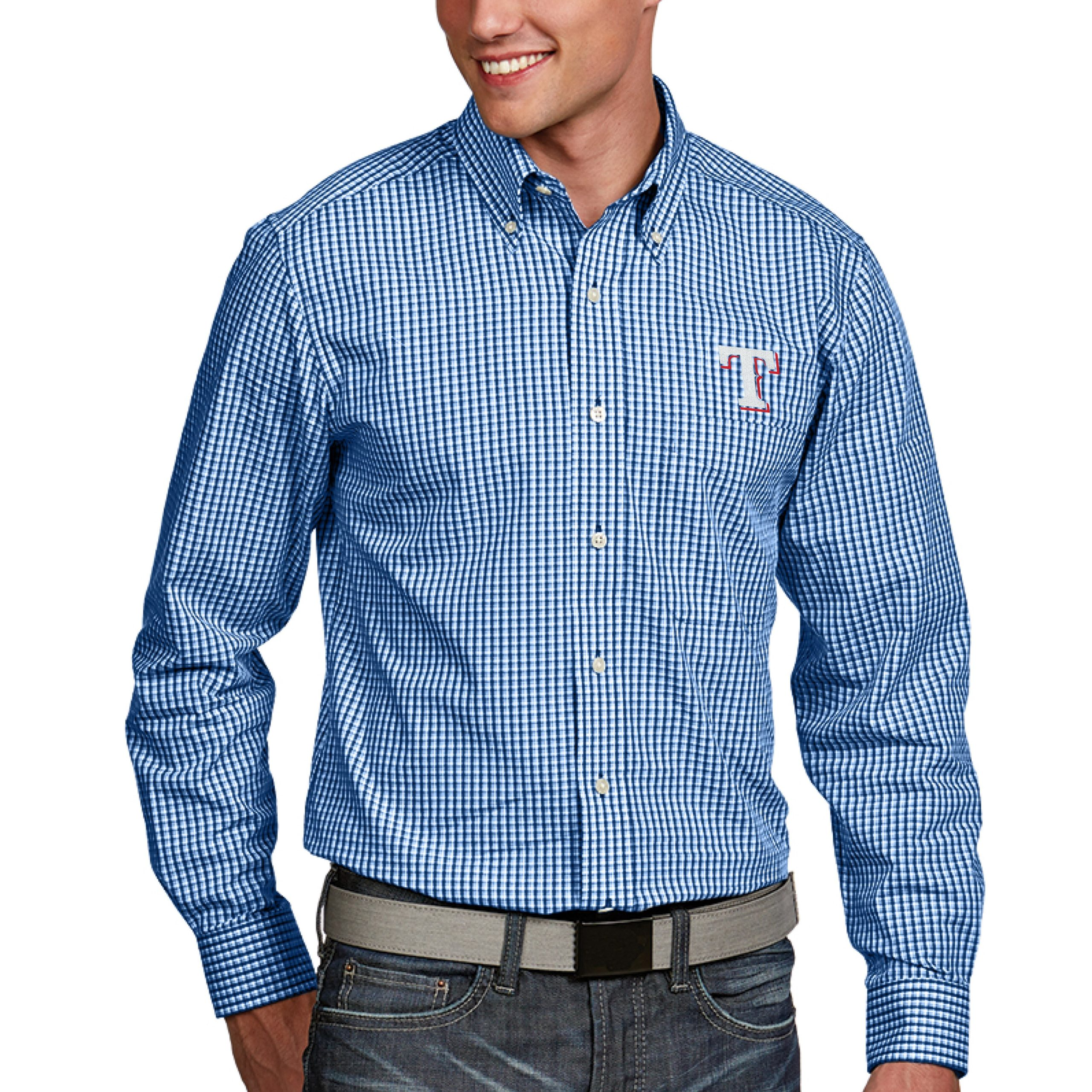 Texas Rangers Antigua Associate Button-Down Dress Long Sleeve Shirt - Royal