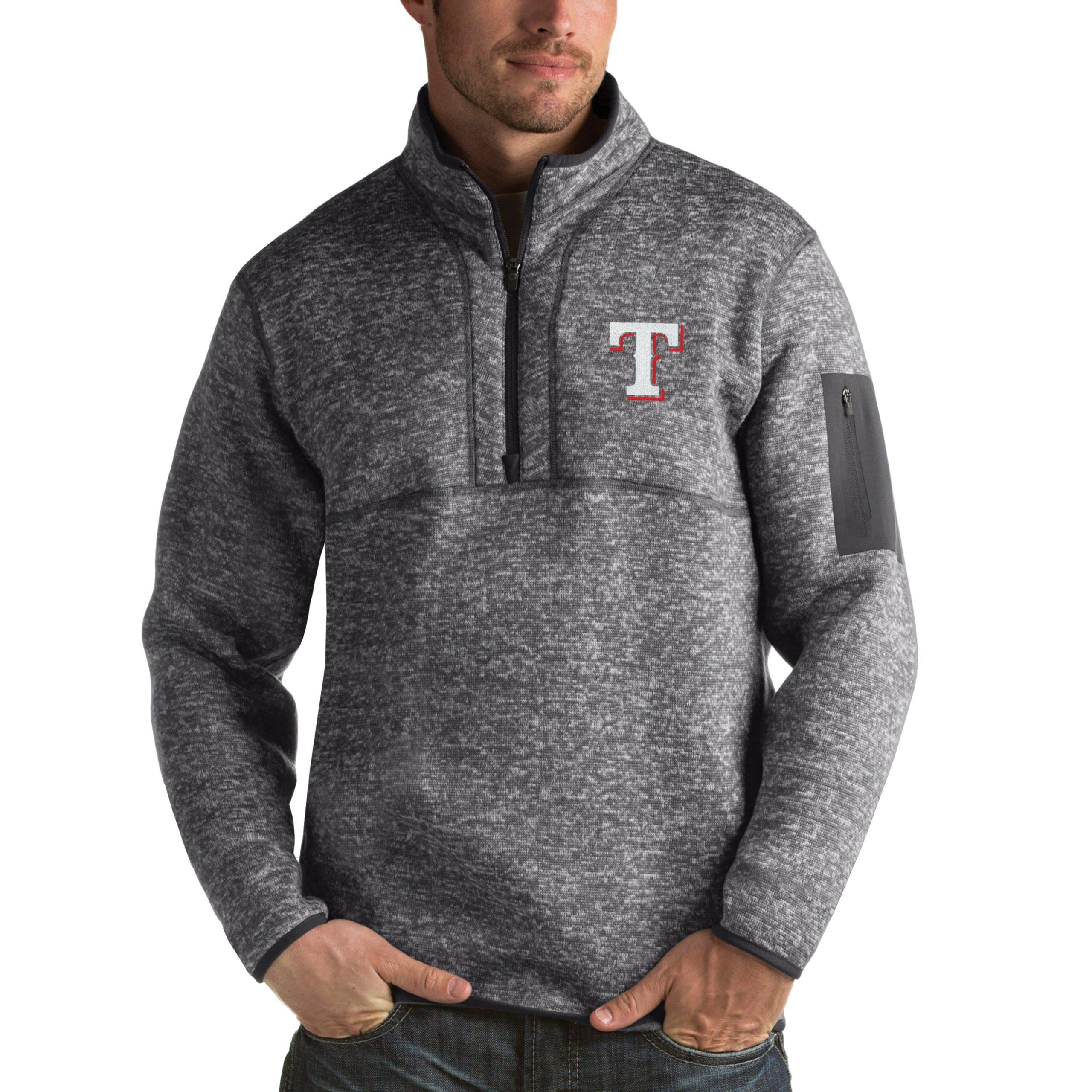 Texas Rangers Antigua Fortune Half-Zip Sweater - Heathered Charcoal