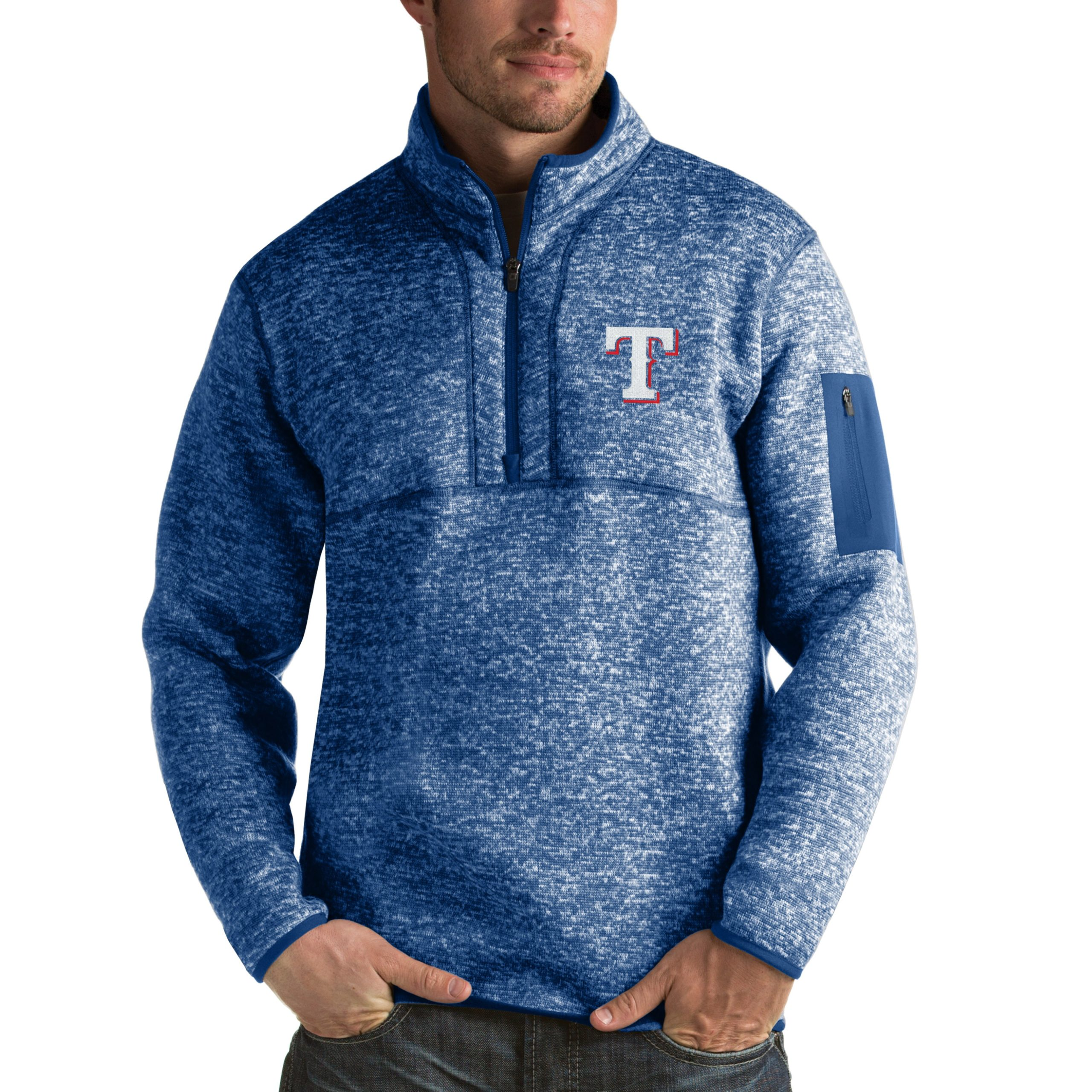 Texas Rangers Antigua Fortune Half-Zip Sweater - Heathered Royal