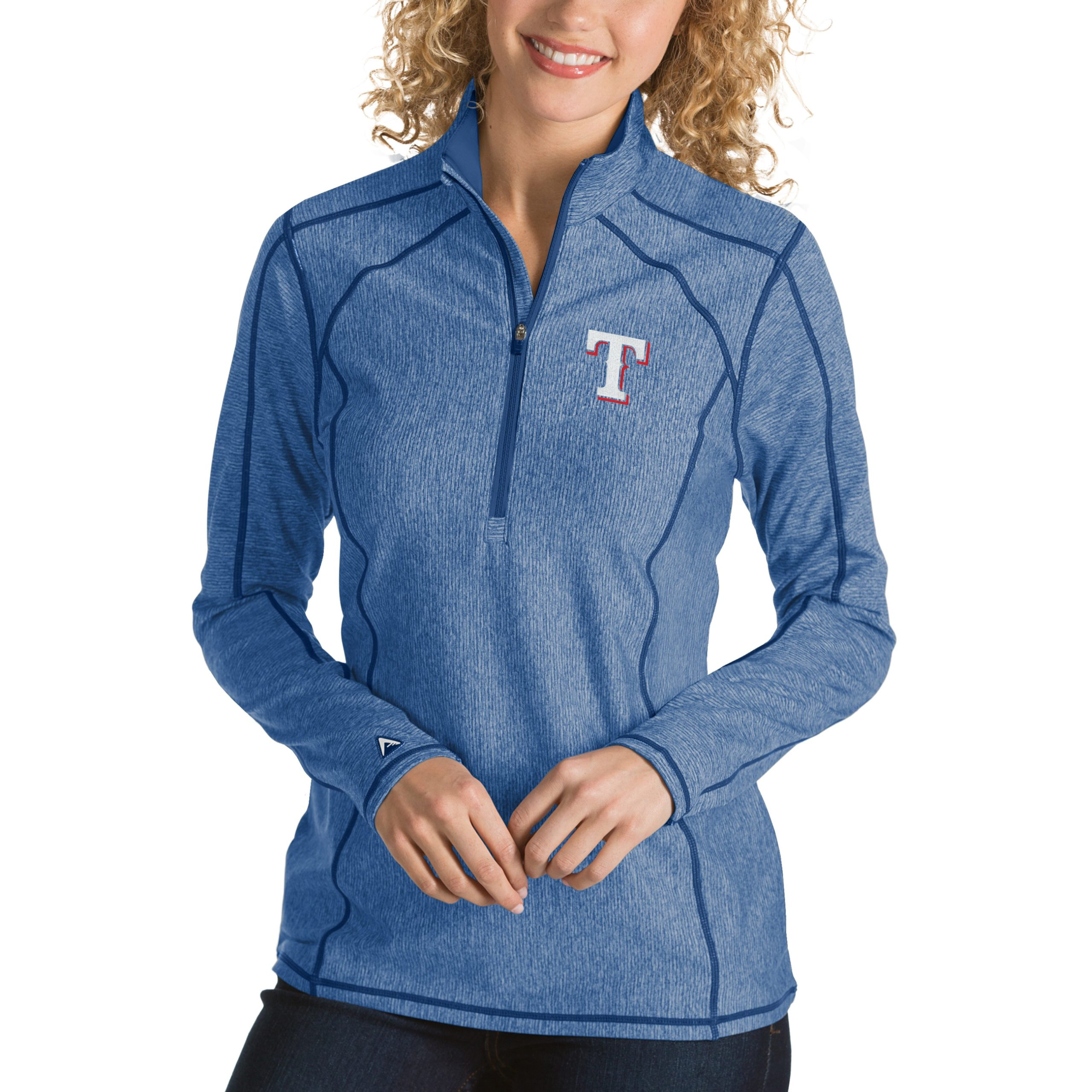 Texas Rangers Antigua Women's Tempo Desert Dry 1/4-Zip Pullover Jacket - Heathered Royal
