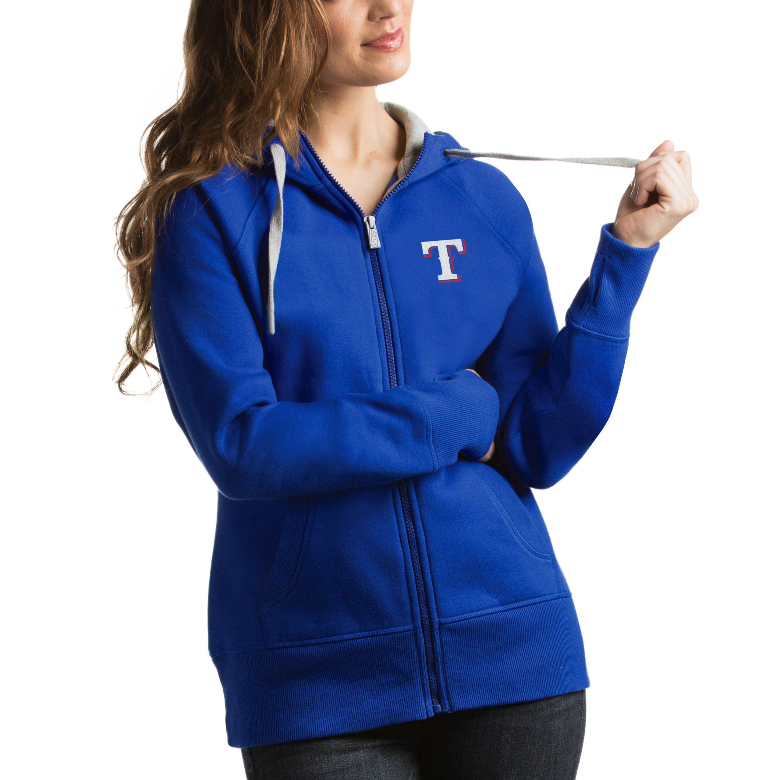 Texas Rangers Antigua Women's Victory Full-Zip Hoodie - Royal