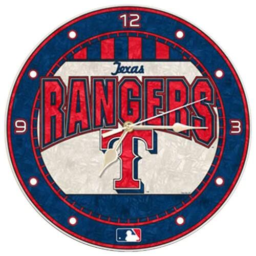 Texas Rangers Art-Glass Wall Clock