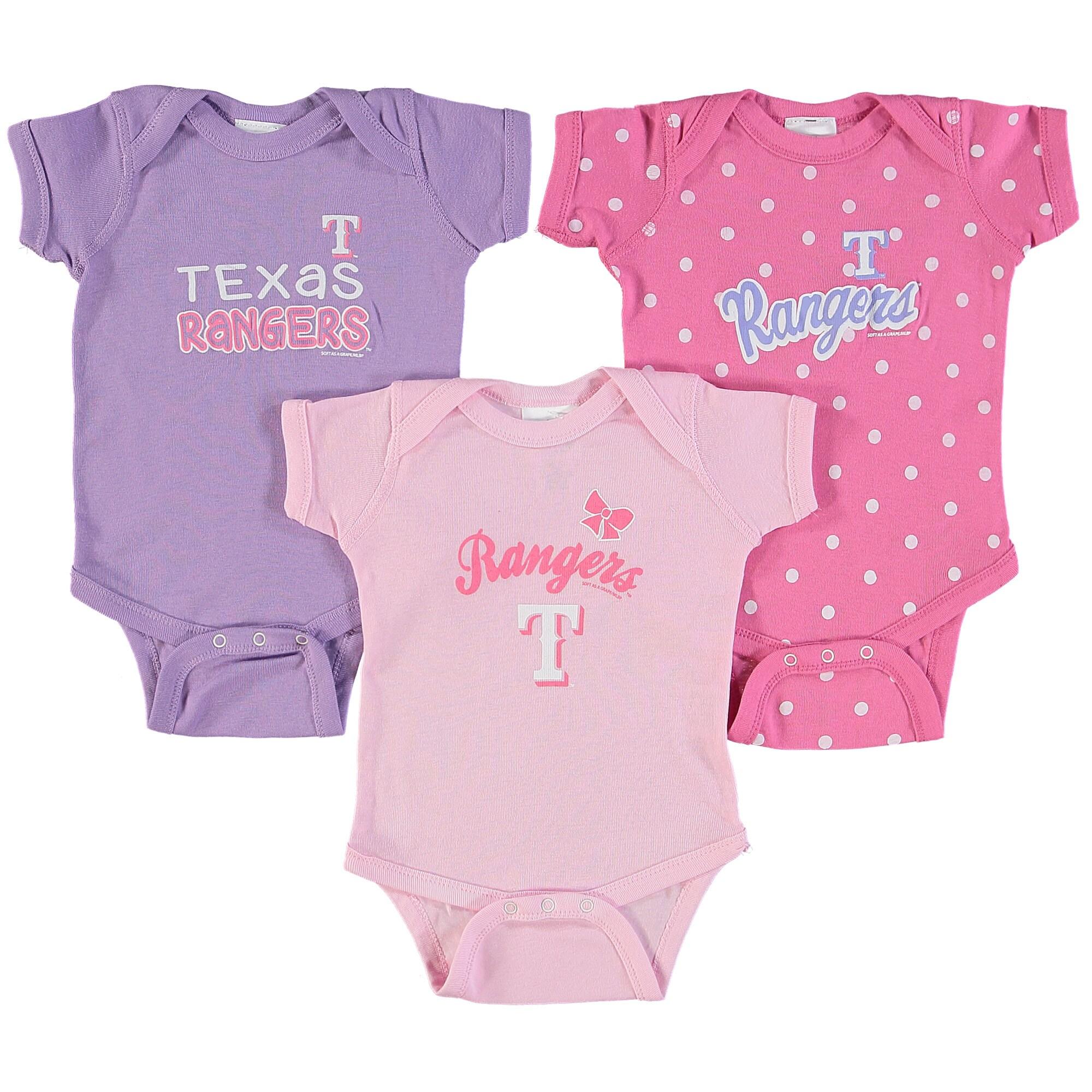 Texas Rangers Soft as a Grape Girls Infant 3-Pack Rookie Bodysuit Set - Pink/Purple