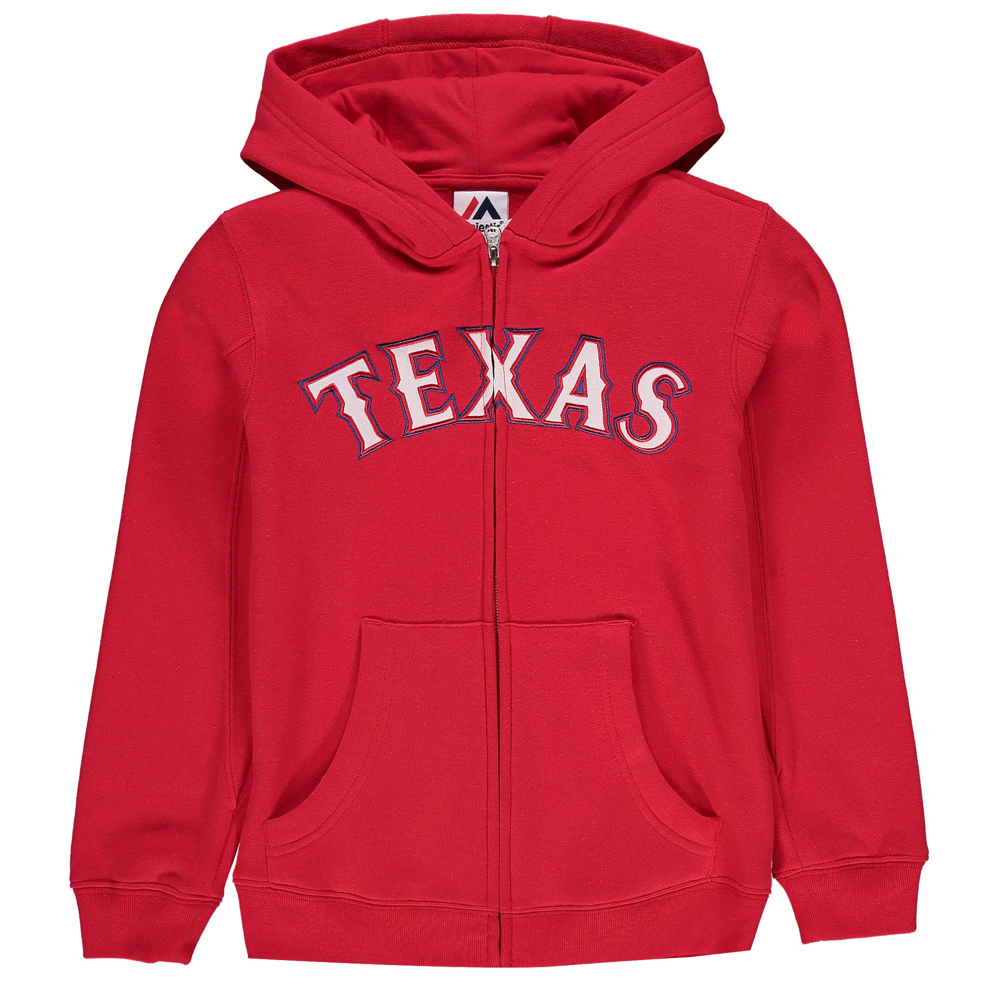 Texas Rangers Majestic Youth Team Wordmark Full-Zip Hoodie - Red