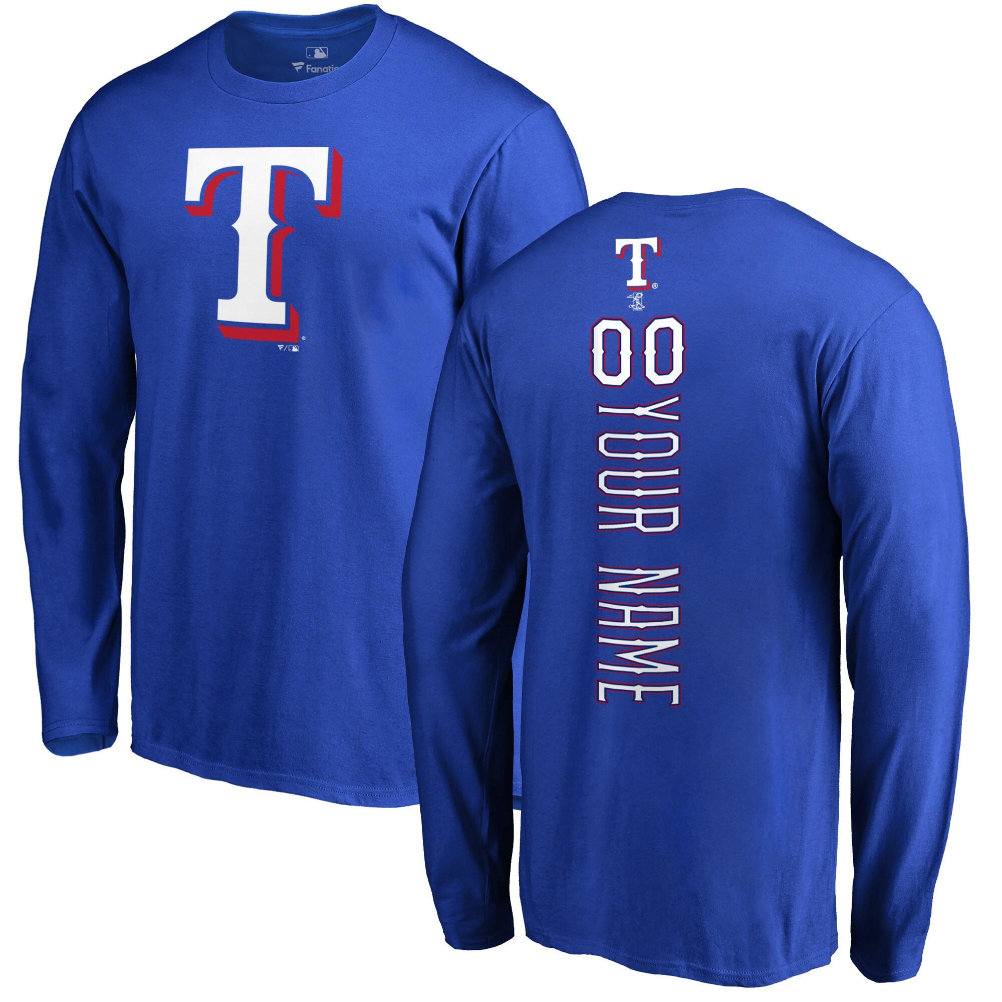 Texas Rangers Fanatics Branded Personalized Playmaker Long Sleeve T-Shirt - Royal