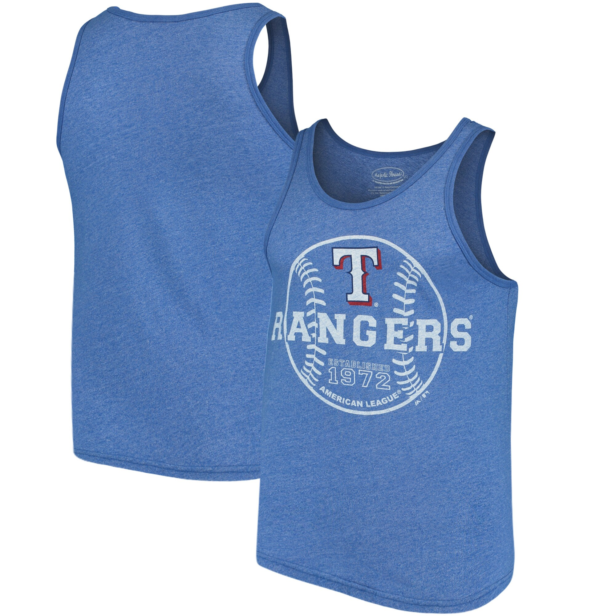 Texas Rangers Majestic Threads The Stretch Contrast Tri-Blend Tank Top - Heathered Royal