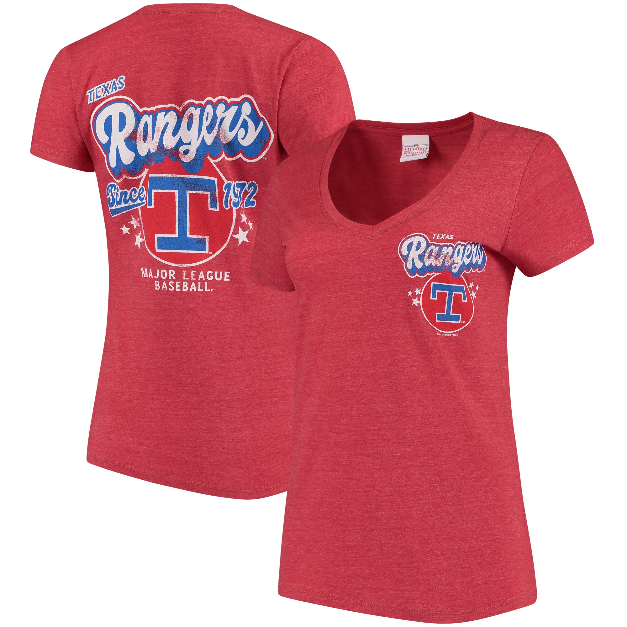 Texas Rangers 5th & Ocean by New Era Women's Cooperstown Collection Tri-Blend V-Neck T-Shirt - Heathered Red