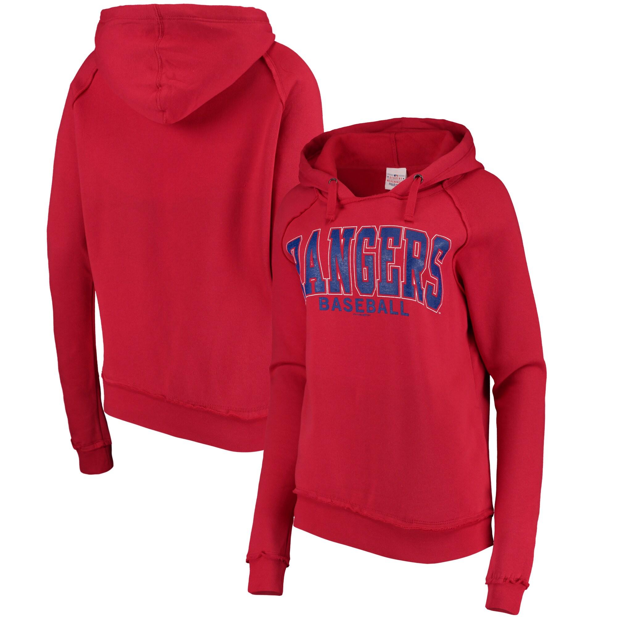 Texas Rangers 5th & Ocean by New Era Women's Defense Raglan Pullover Hoodie - Red