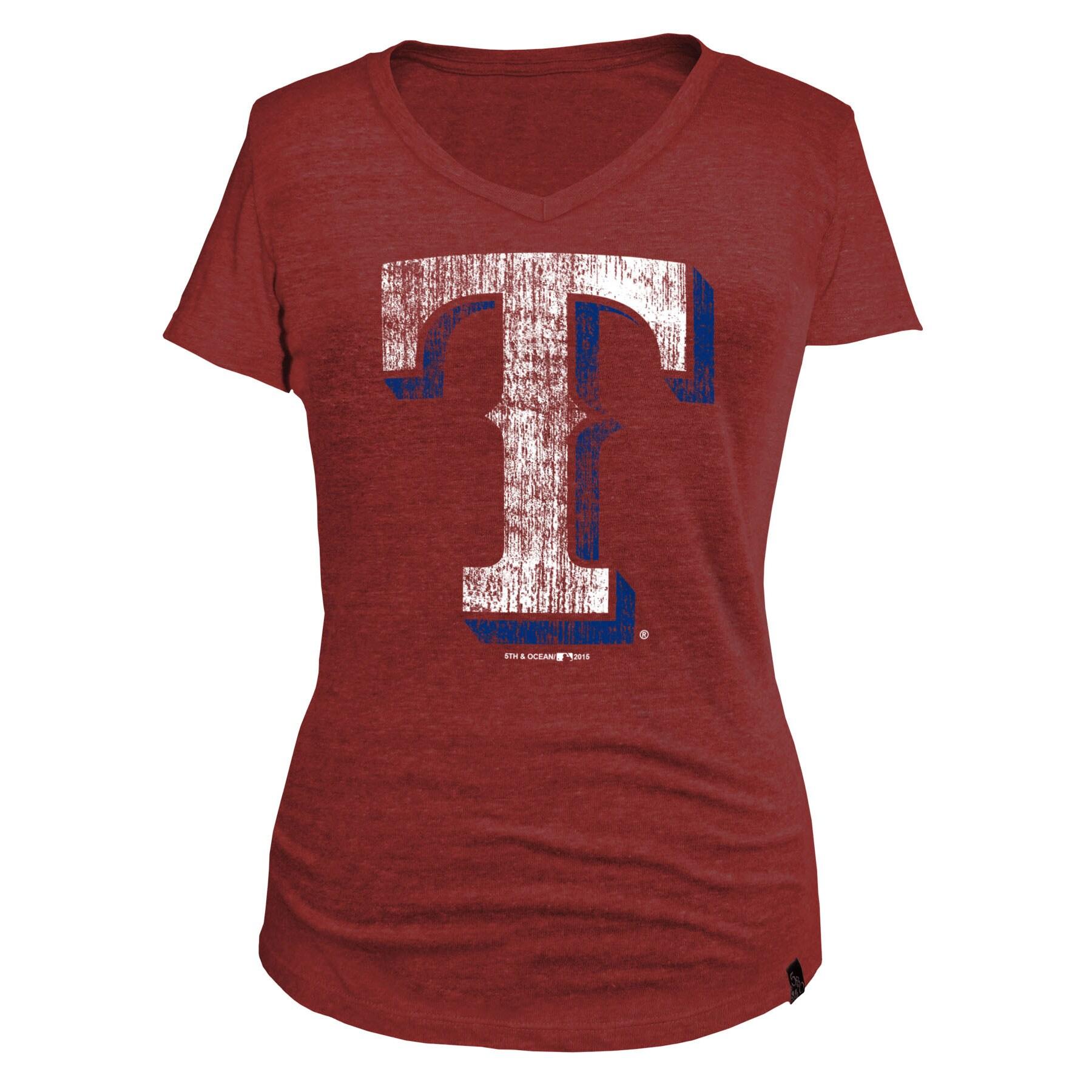 Texas Rangers 5th & Ocean by New Era Women's Tri-Blend Basic Logo V-Neck T-Shirt - Red