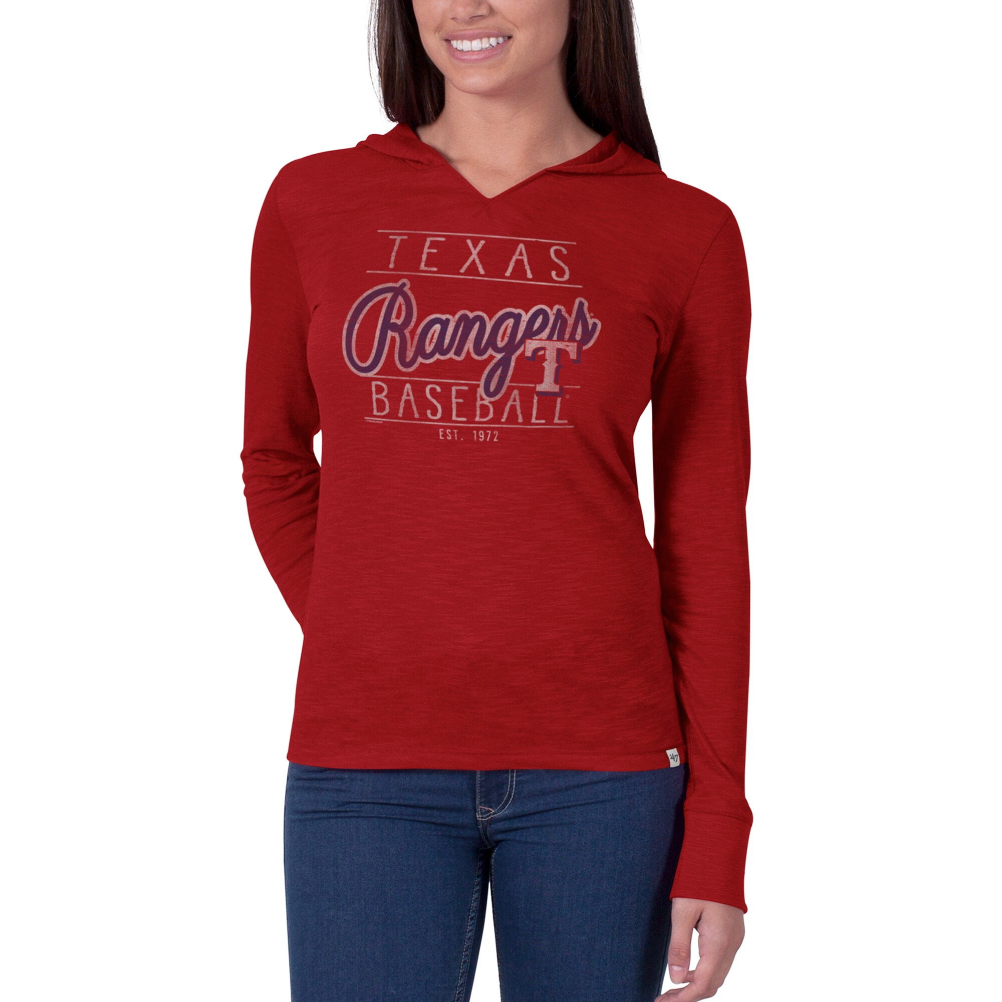 Texas Rangers '47 Women's Primetime II Long Sleeve Hoodie V-Neck T-Shirt - Red