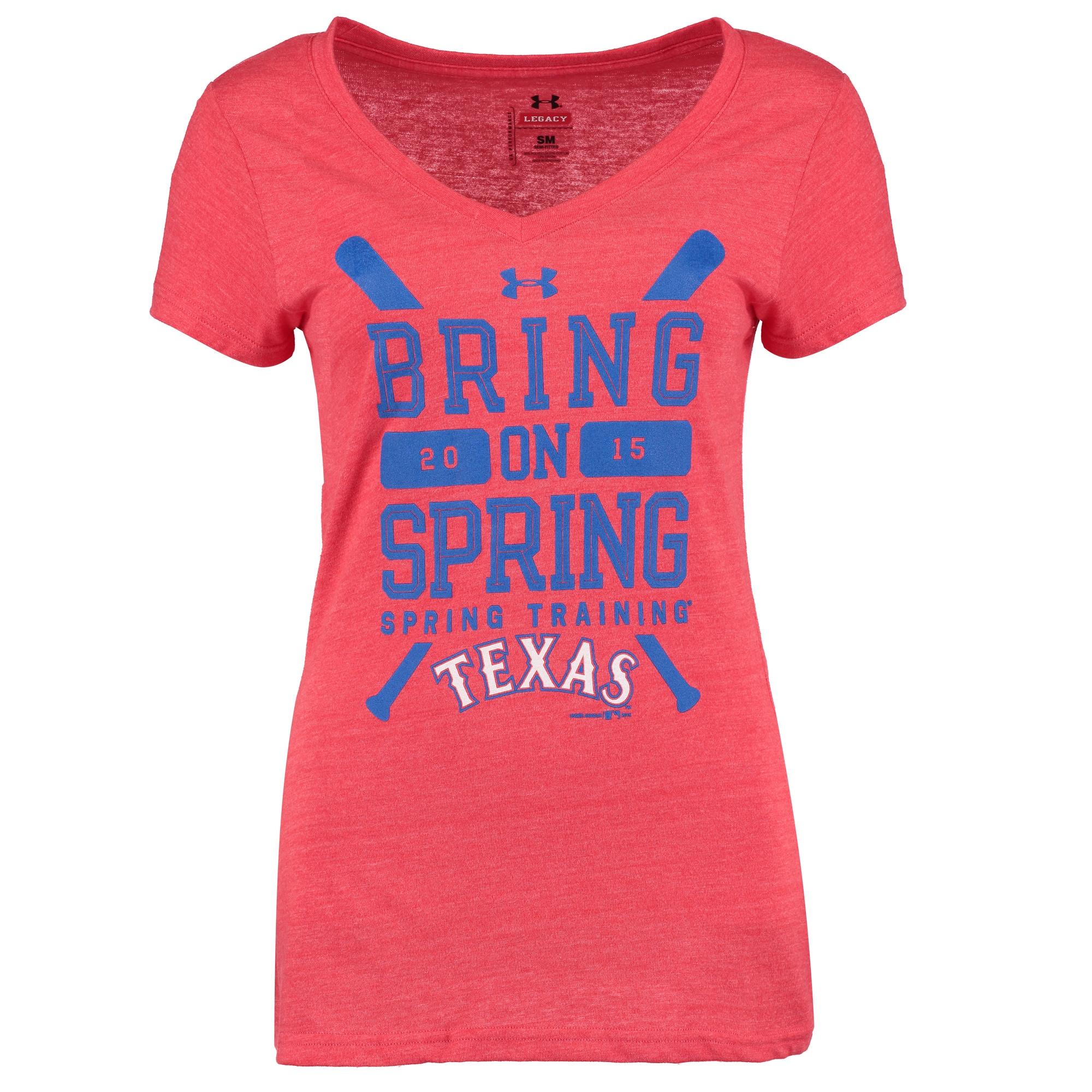 Texas Rangers Under Armour Women's Tri-Blend 2015 Spring Training V-Neck T-Shirt - Red