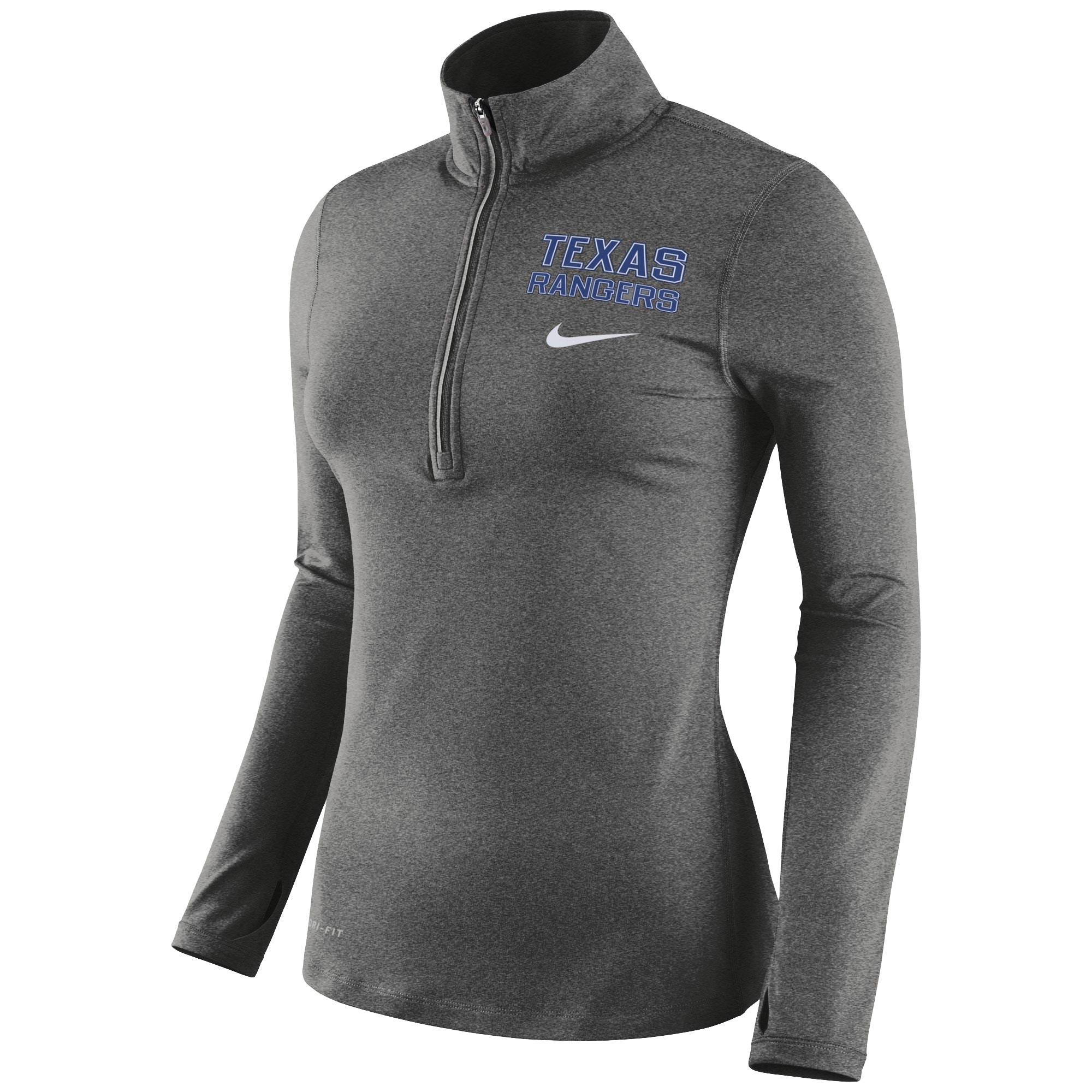 Texas Rangers Nike Women's Element Half-Zip Performance Jacket - Heathered Gray