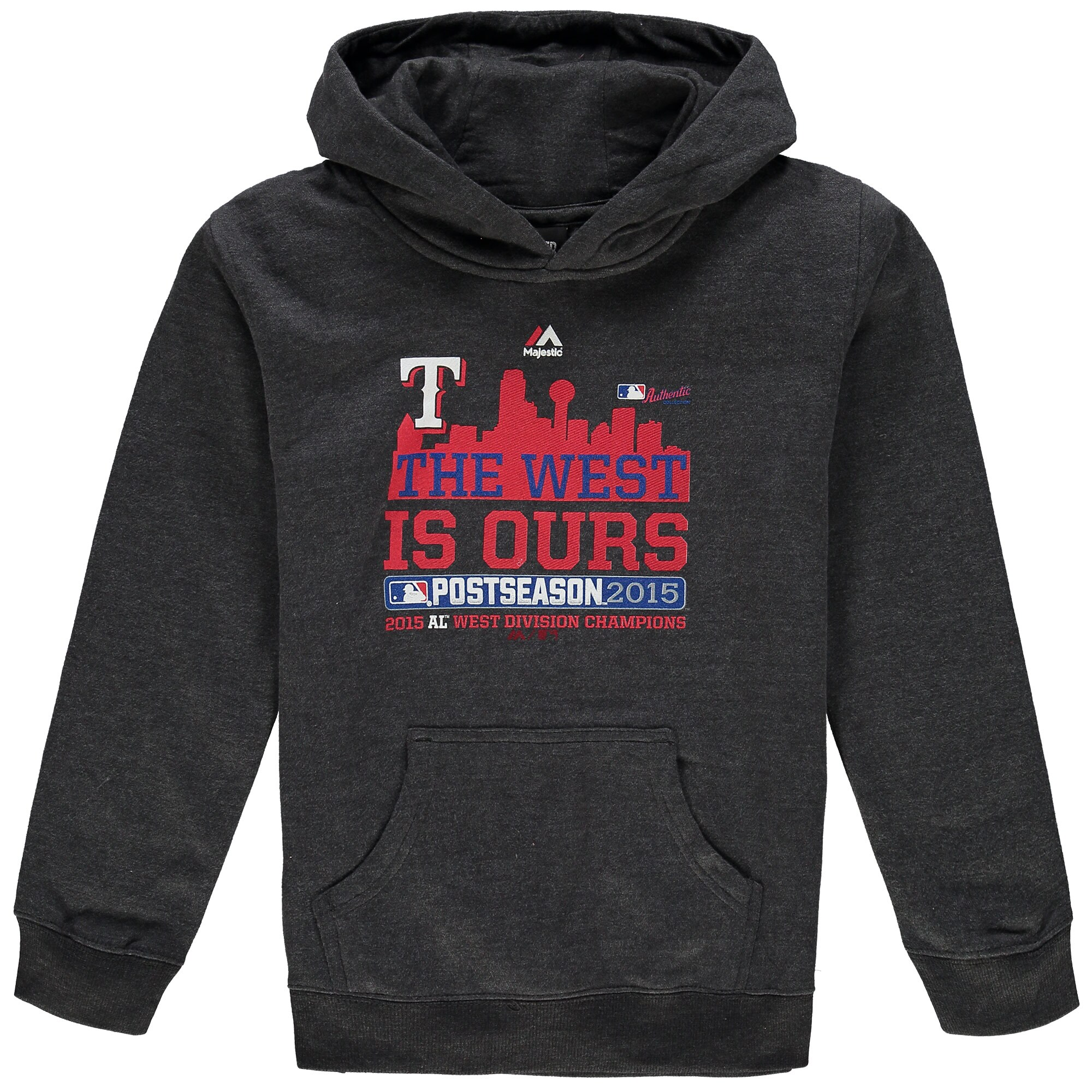 Texas Rangers Majestic Youth 2015 Division Champions Locker Room Hoodie - Charcoal