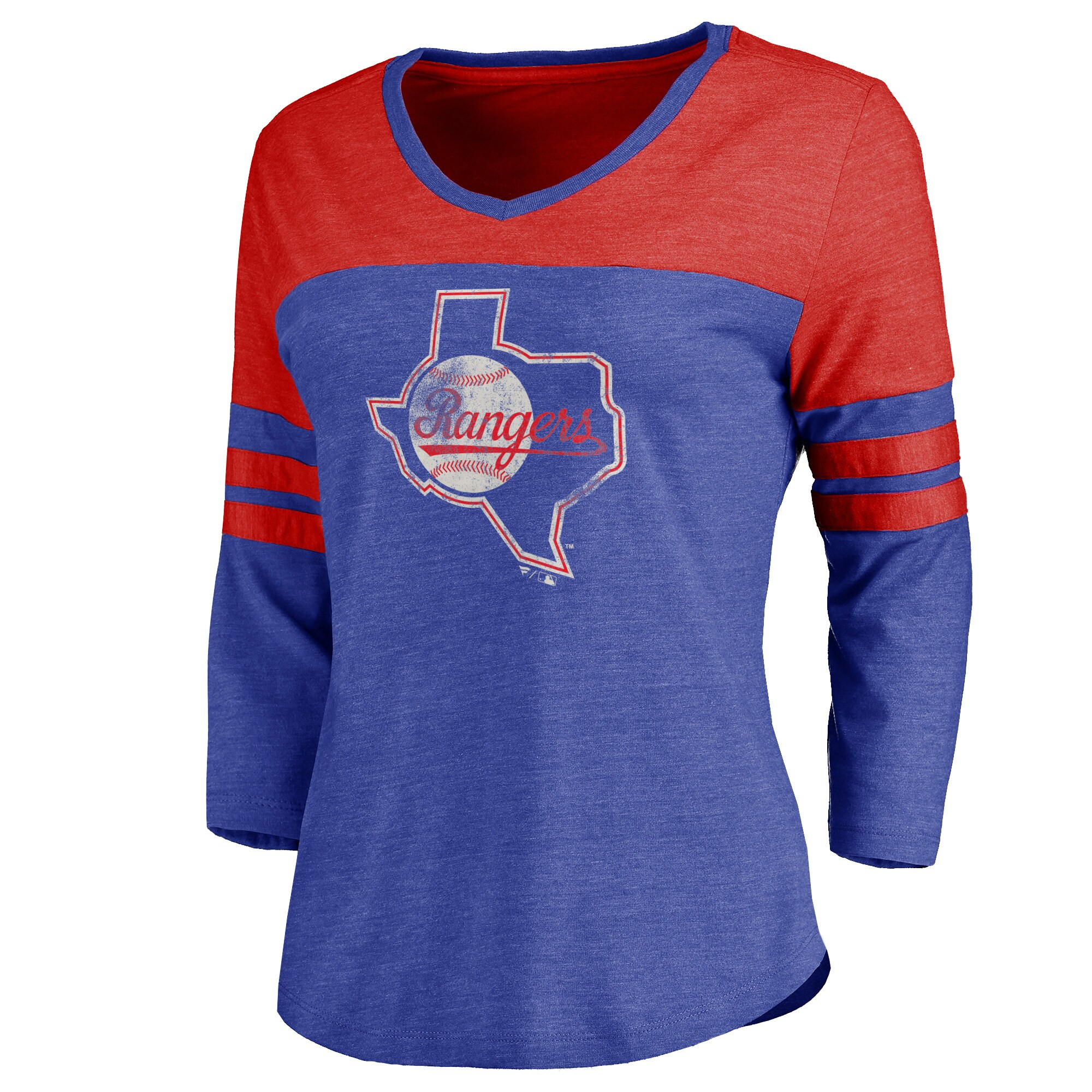 Texas Rangers Women's Cooperstown Two Tone Three-Quarter Sleeve Tri-Blend T-Shirt - Royal/Red