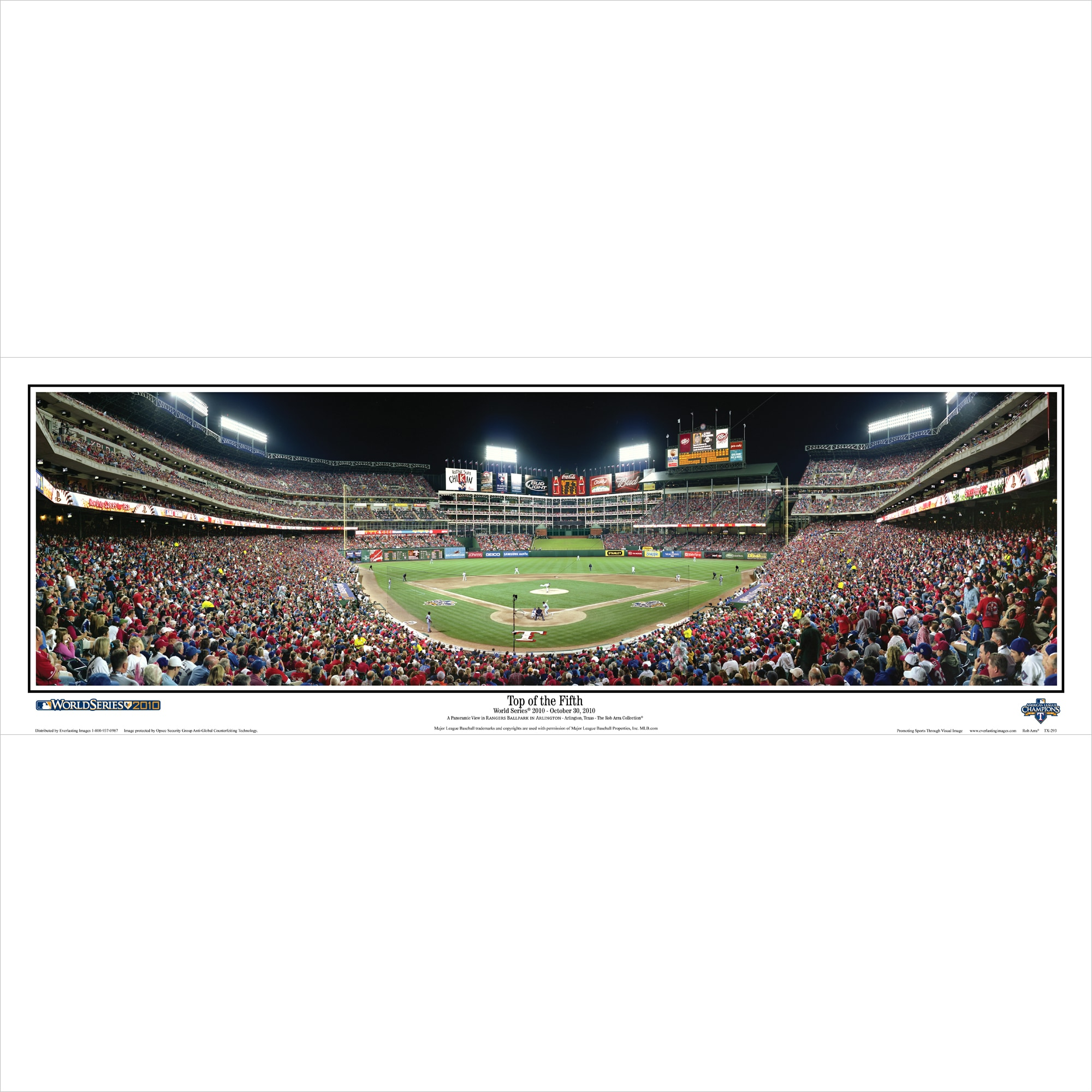 """Texas Rangers 39"""" x 13.5"""" Top of the Fifth Standard Black Framed Panoramic"""
