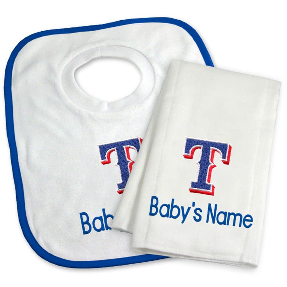 Texas Rangers Newborn & Infant Personalized Bib & Burp Cloth Set - White