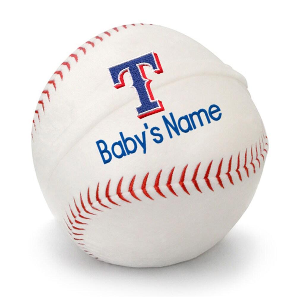 Texas Rangers Personalized Plush Baby Baseball - White