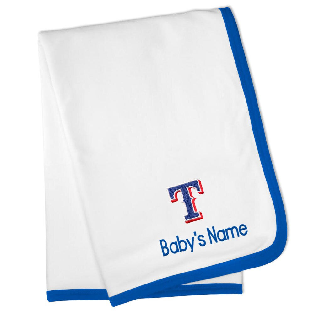 Texas Rangers Personalized Baby Blanket - White