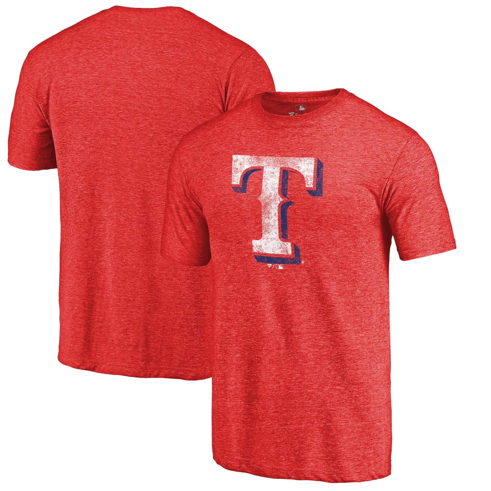 Texas Rangers Distressed Team Tri-Blend T-Shirt - Heathered Red