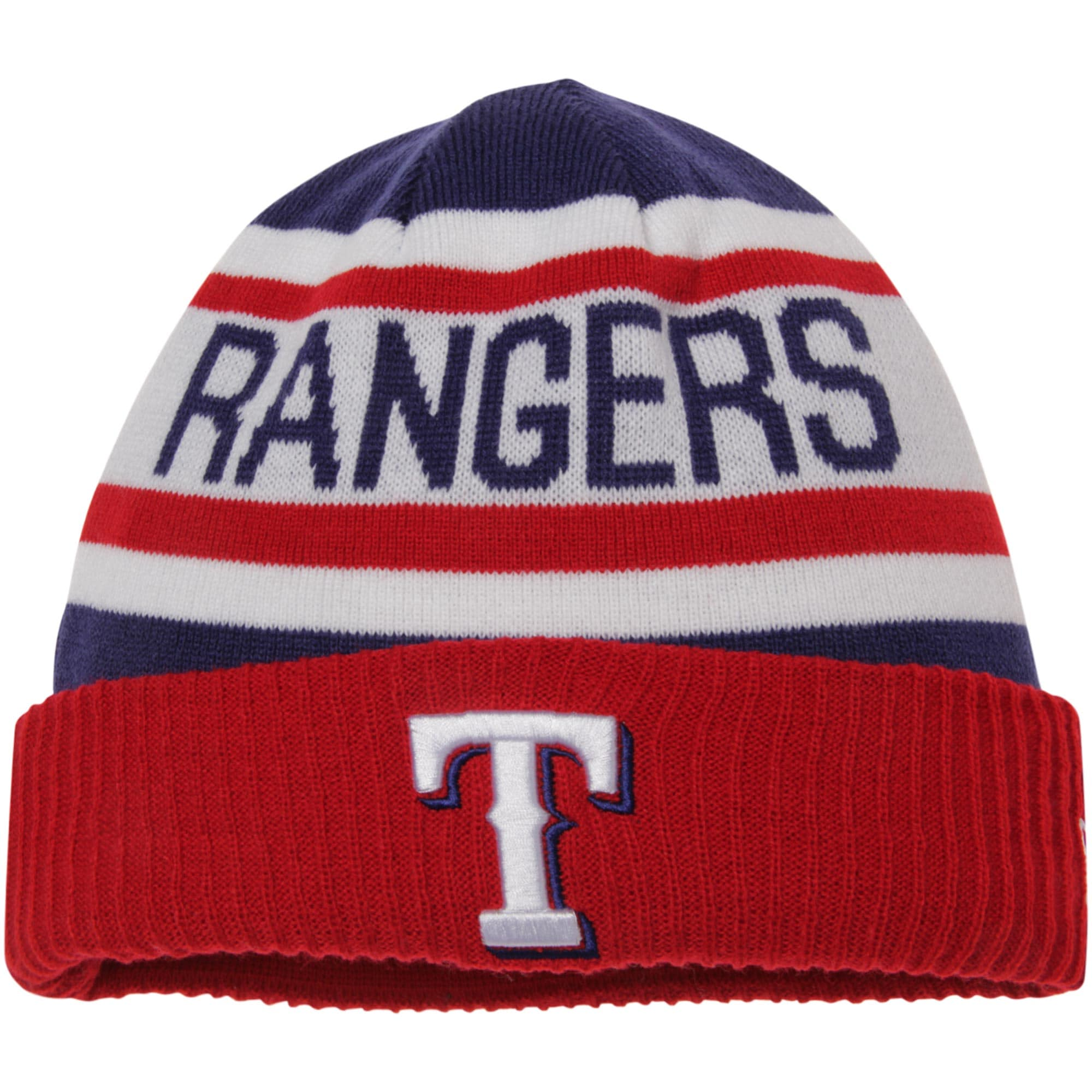 Texas Rangers New Era Biggest Fan 2.0 Cuffed Knit Hat - White/Red