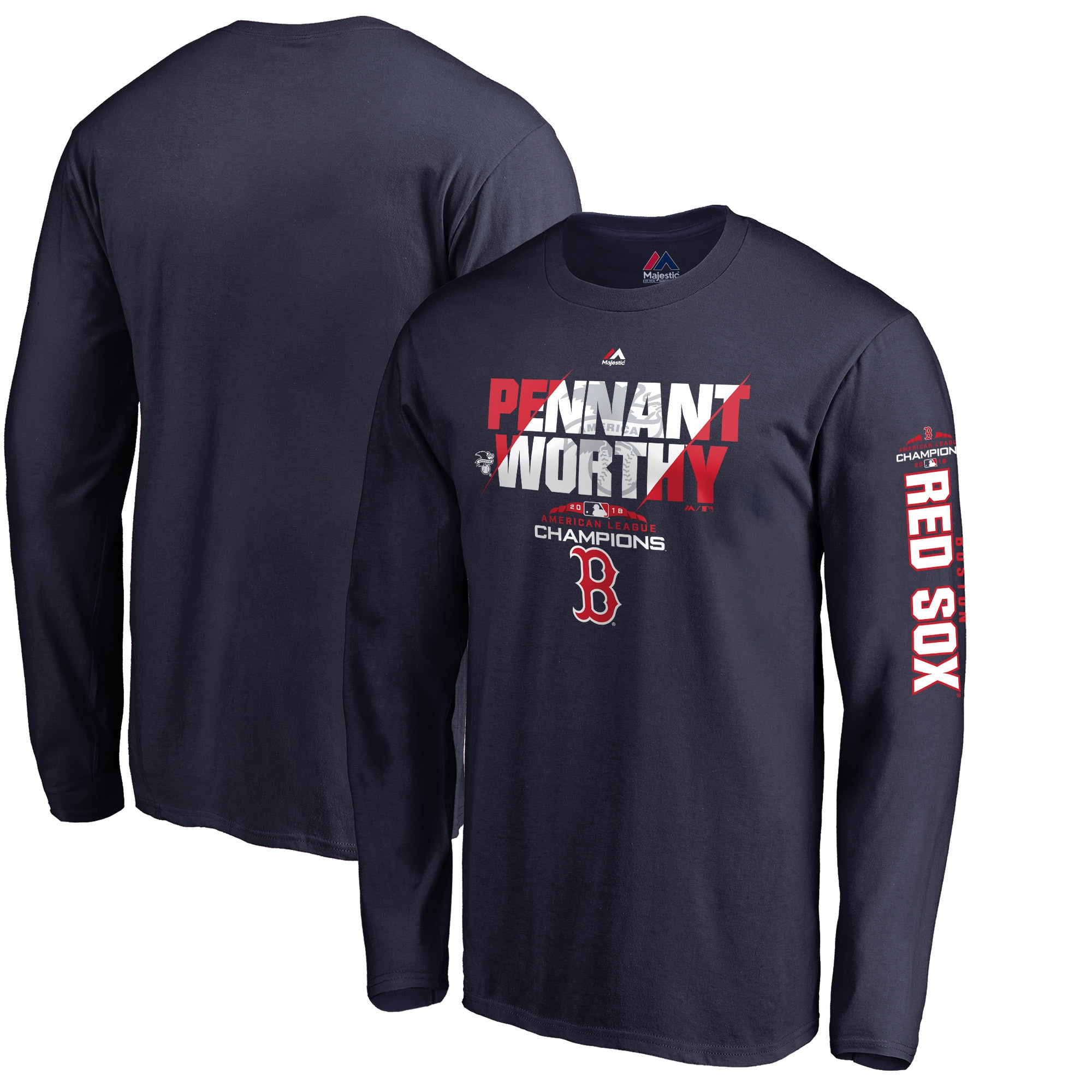 Boston Red Sox Majestic 2018 American League Champions Heater Long Sleeve T-Shirt - Navy