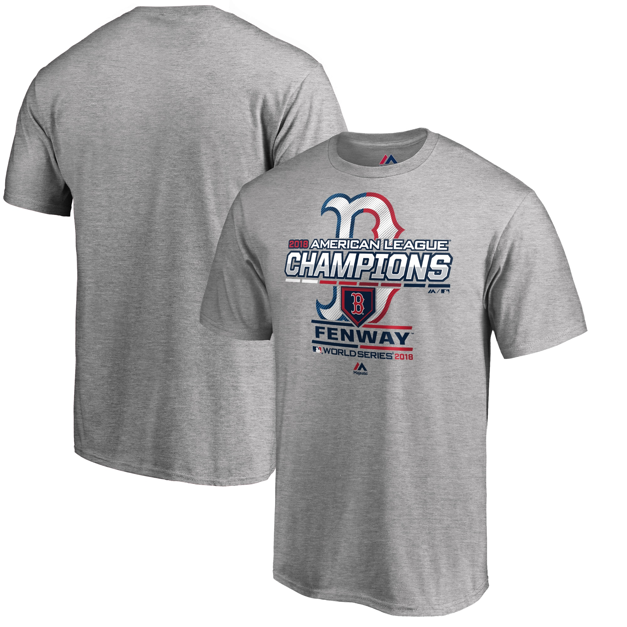Boston Red Sox Majestic 2018 American League Champions Locker Room Big & Tall T-Shirt - Heather Gray