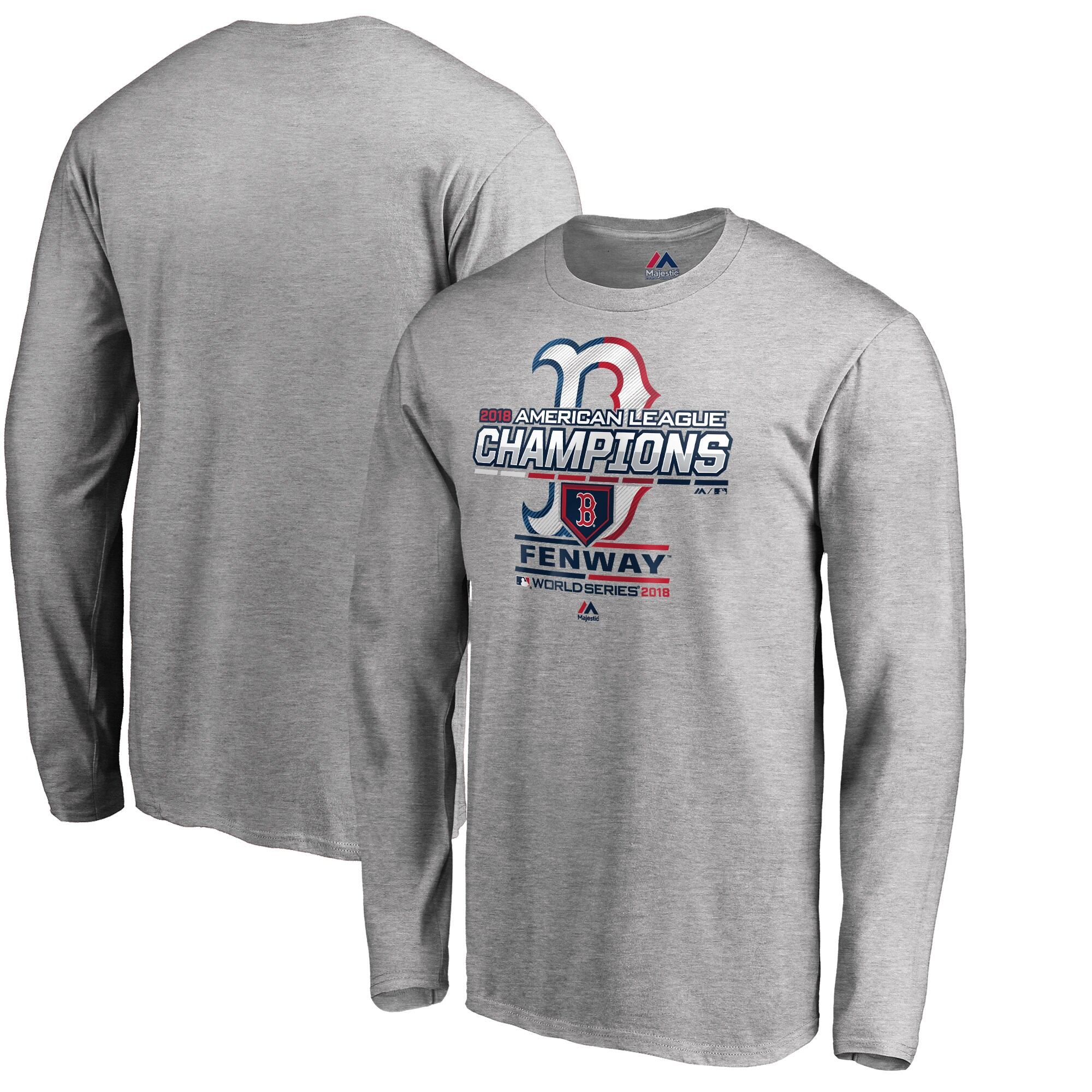 Boston Red Sox Majestic 2018 American League Champions Locker Room Long Sleeve T-Shirt - Heather Gray