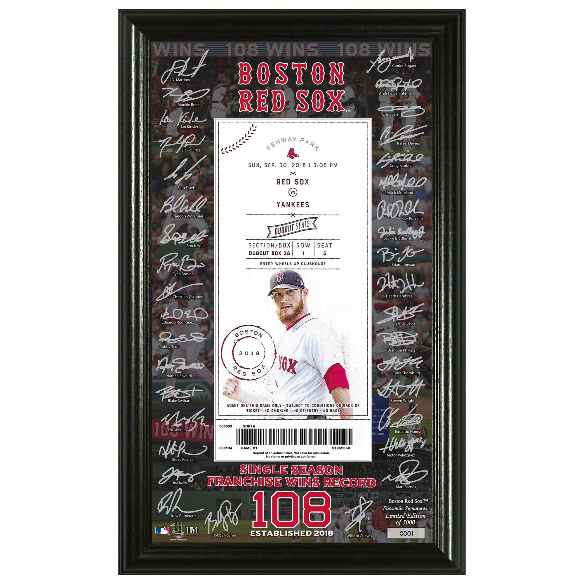 "Boston Red Sox Highland Mint 2018 Single Season Franchise Wins Record 12"" x 20"" Signature Ticket Frame"