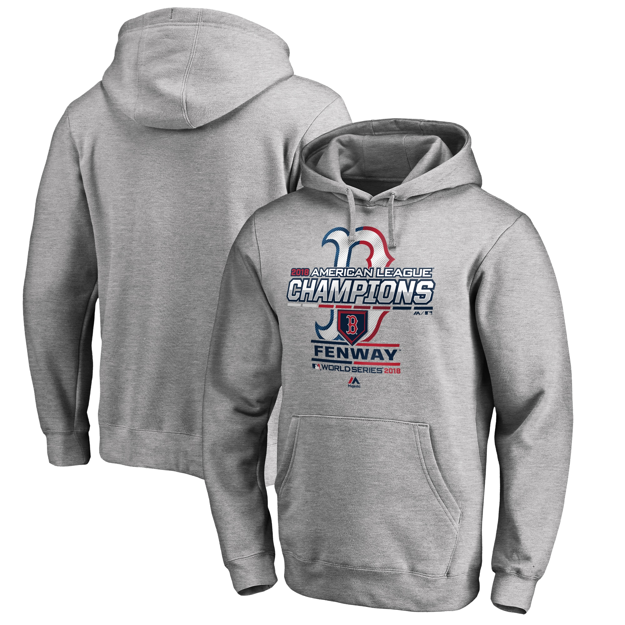 Boston Red Sox Majestic 2018 American League Champions Locker Room Big & Tall Pullover Hoodie - Heather Gray