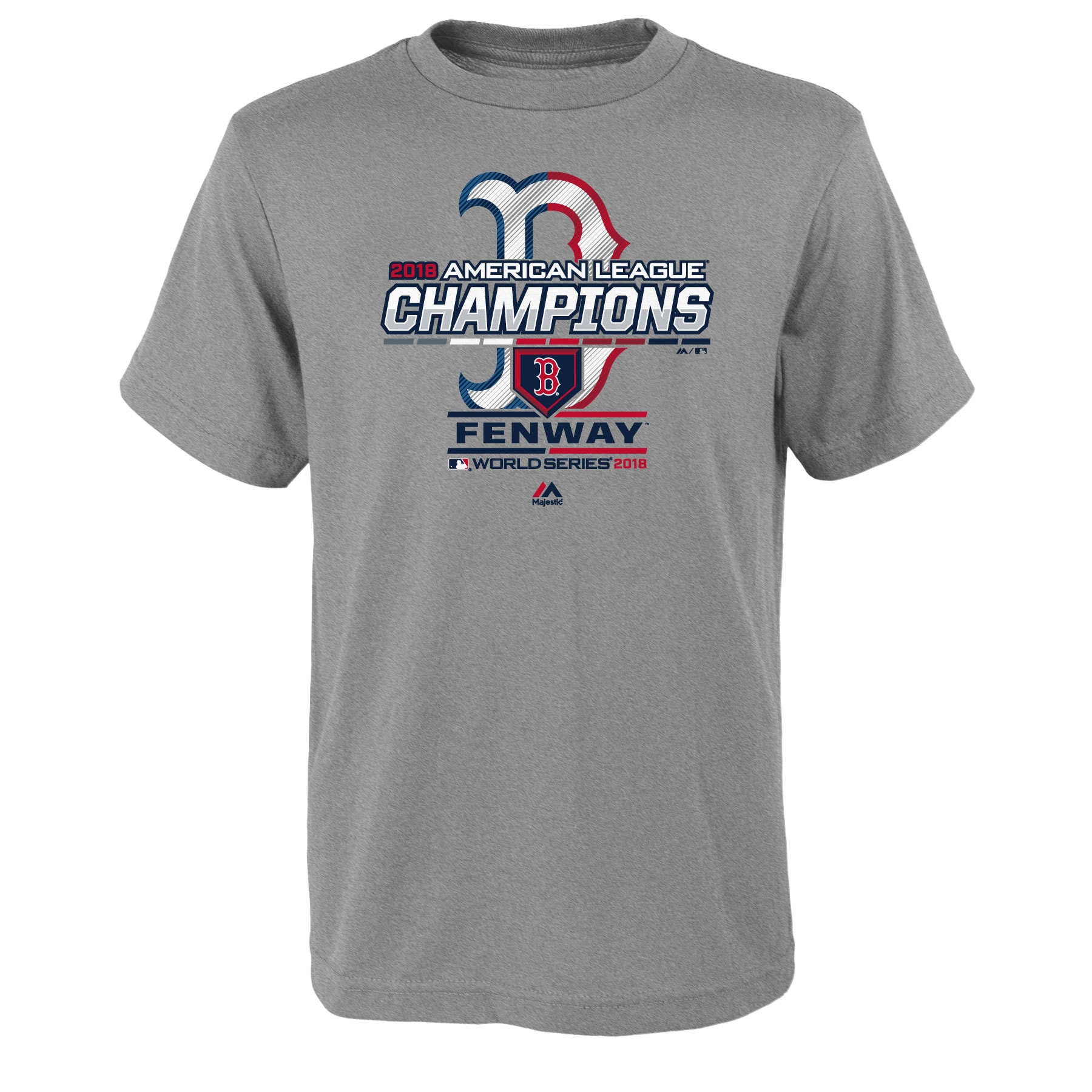 Boston Red Sox Majestic Youth 2018 American League Champions Locker Room T-Shirt - Heather Gray