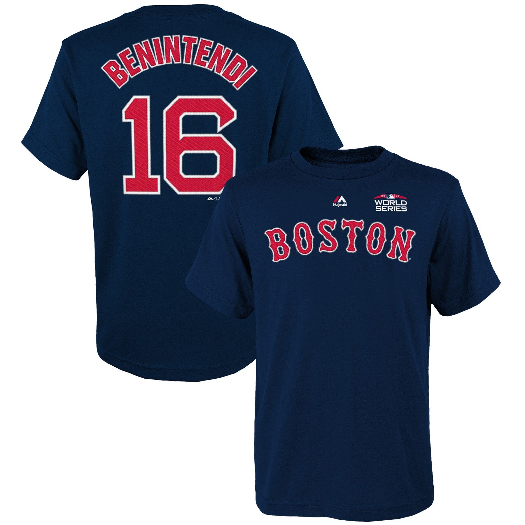 Andrew Benintendi Boston Red Sox Youth 2018 World Series Name & Number T-Shirt - Navy