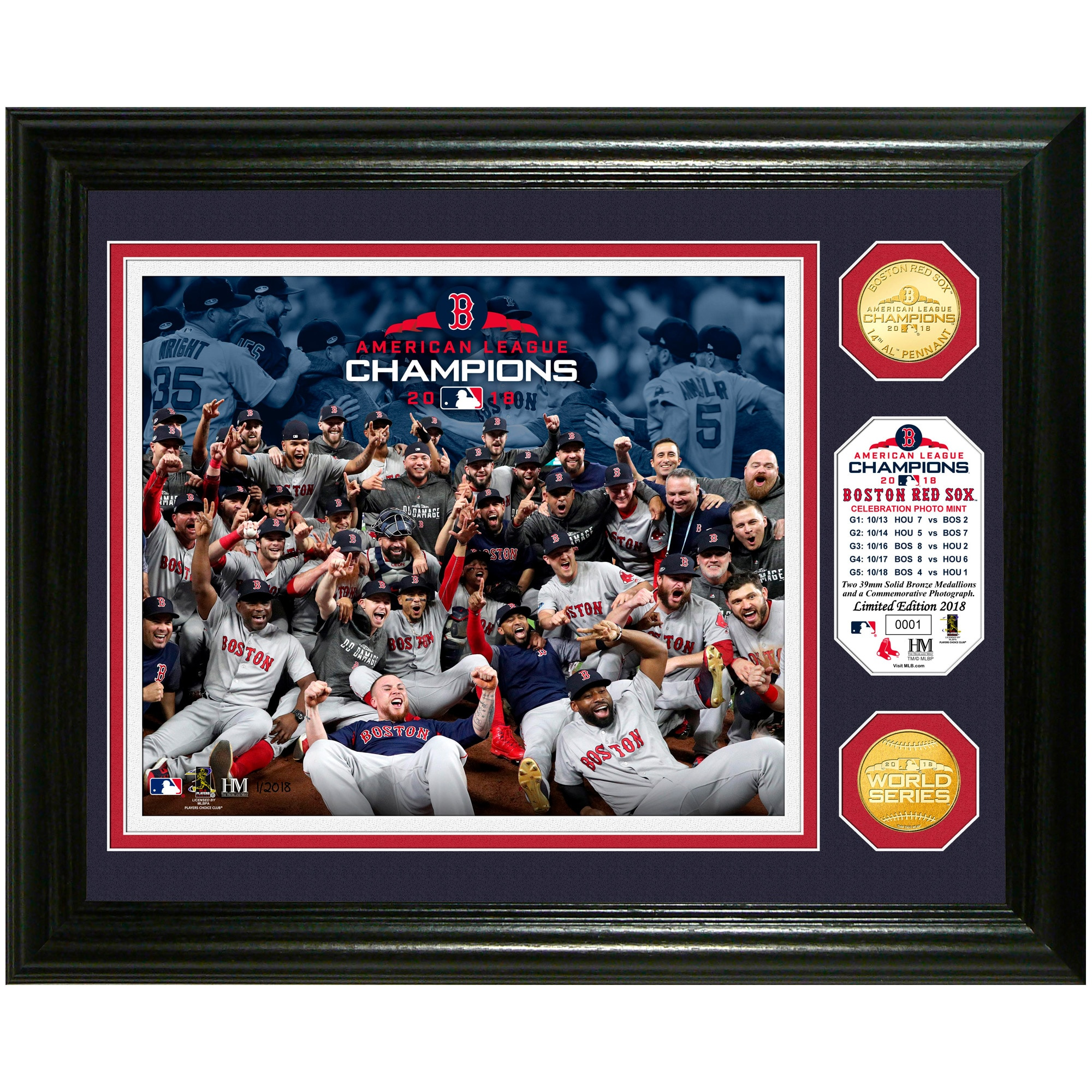 """Boston Red Sox Highland Mint 2018 American League Champions Celebration 13"""" x 16"""" Bronze Coin Photo Mint"""