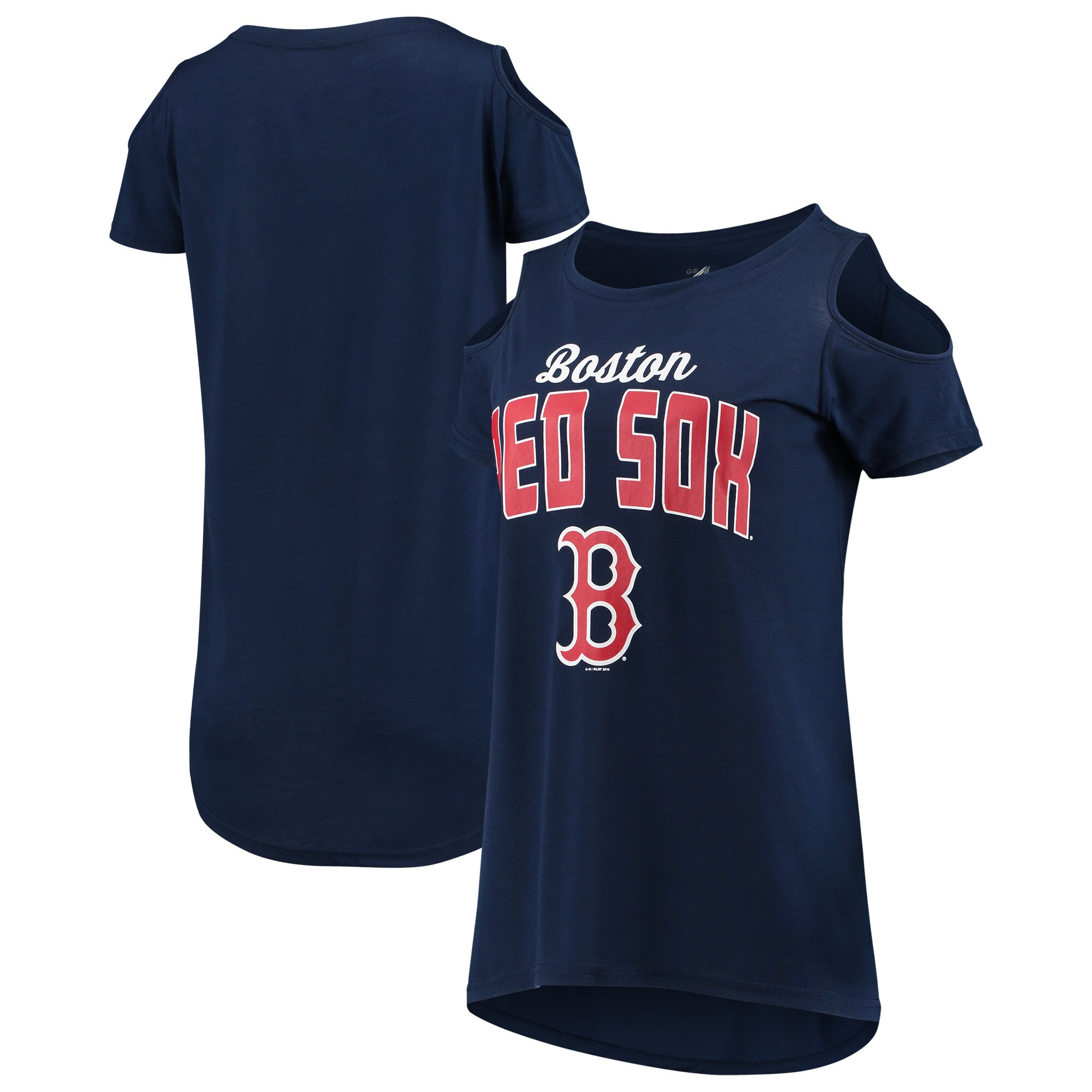 Boston Red Sox G-III 4Her by Carl Banks Women's Clear the Bases Cold Shoulder T-Shirt - Navy