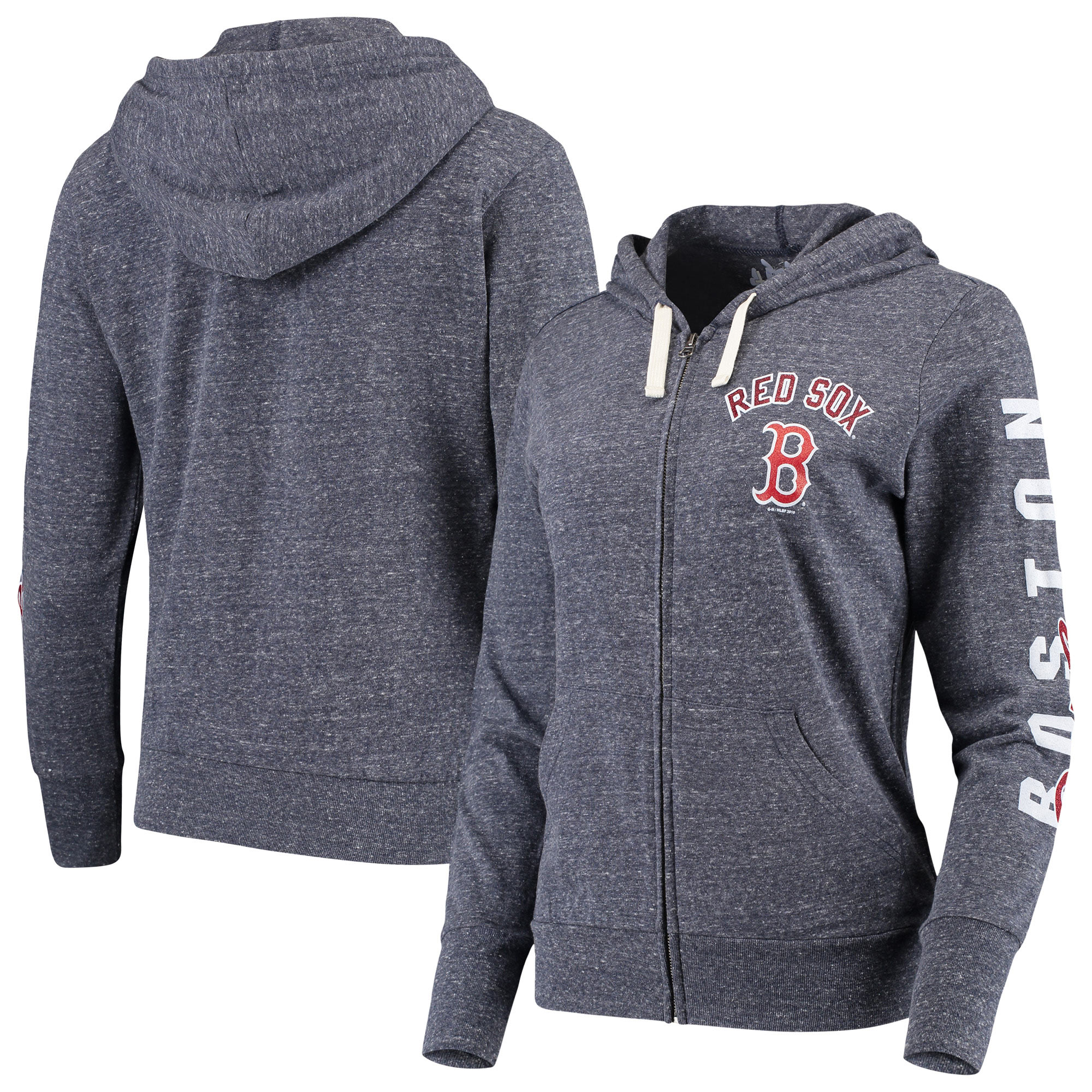 Boston Red Sox Touch by Alyssa Milano Women's Training Camp Hit Tri-Blend Full-Zip Hoodie - Heathered Navy