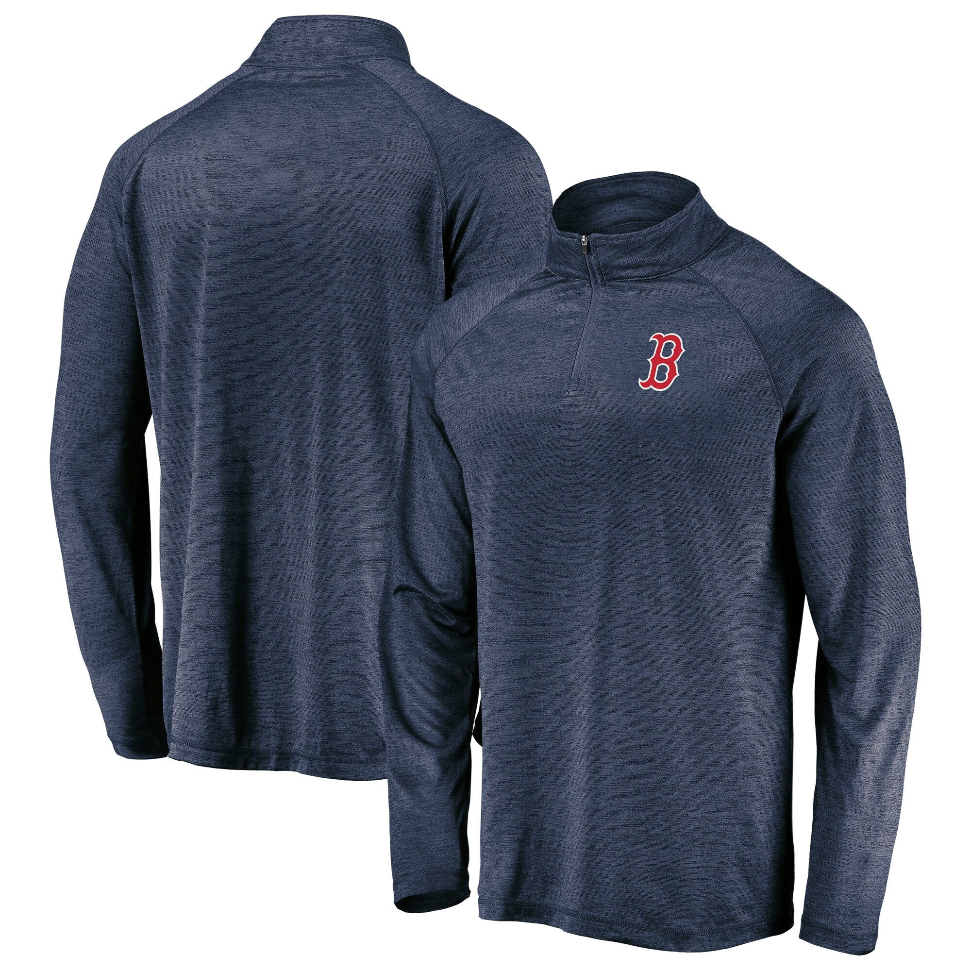 Boston Red Sox Majestic Striated Primary Logo Cool Base Raglan Quarter-Zip Pullover Jacket - Heathered Navy
