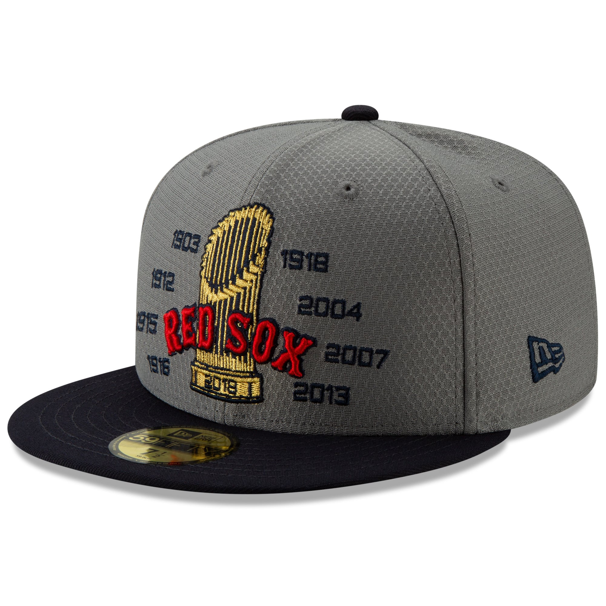 Boston Red Sox New Era Men's World Series Champs 59FIFTY Fitted Hat - Gray/Navy
