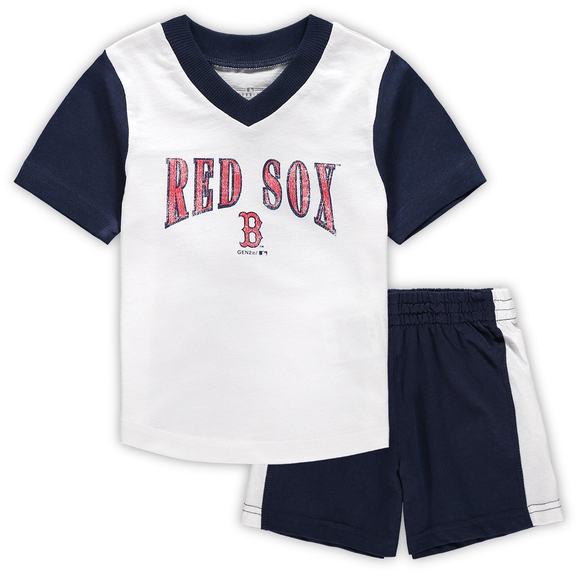 Boston Red Sox Infant Little Hitter V-Neck T-Shirt & Shorts Set - White/Navy