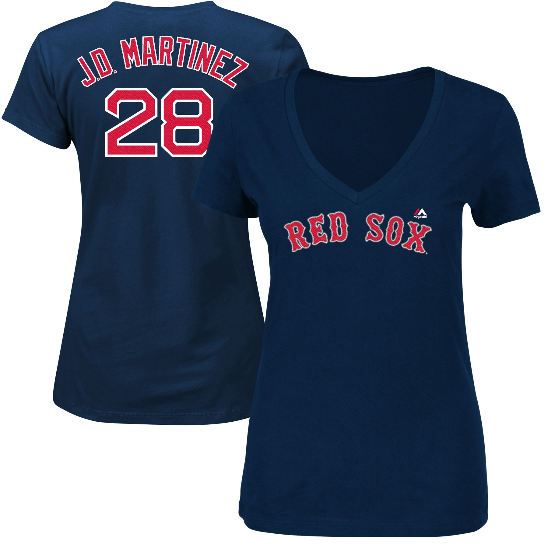 JD Martinez Boston Red Sox Majestic Women's Name & Number V-Neck T-Shirt - Navy