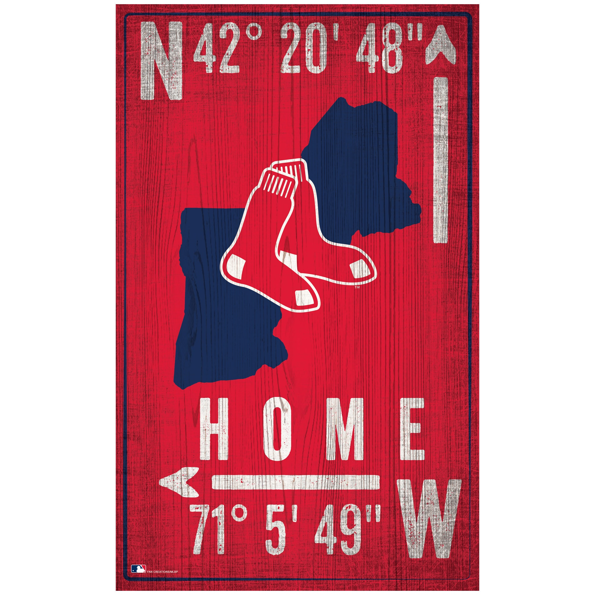 "Boston Red Sox 11"" x 19"" Coordinate Sign"
